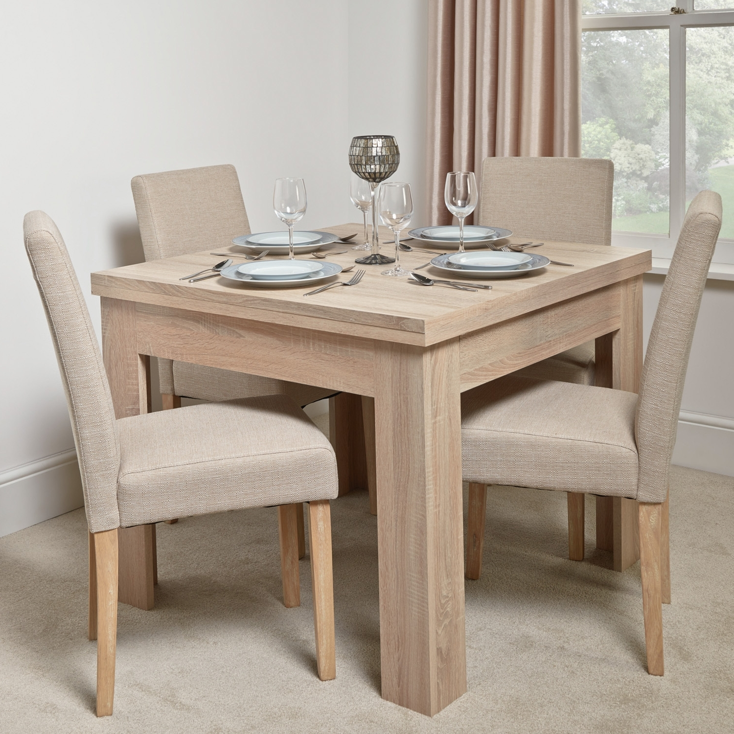 Calpe Flip Extending Dining Table Inside Most Recent Square Extendable Dining Tables And Chairs (View 11 of 25)
