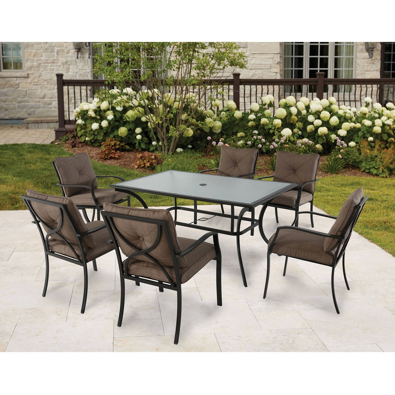 Cambridge Crawford 7 Piece Outdoor Dining Set – Walmart Throughout Most Recent Crawford 7 Piece Rectangle Dining Sets (View 12 of 25)