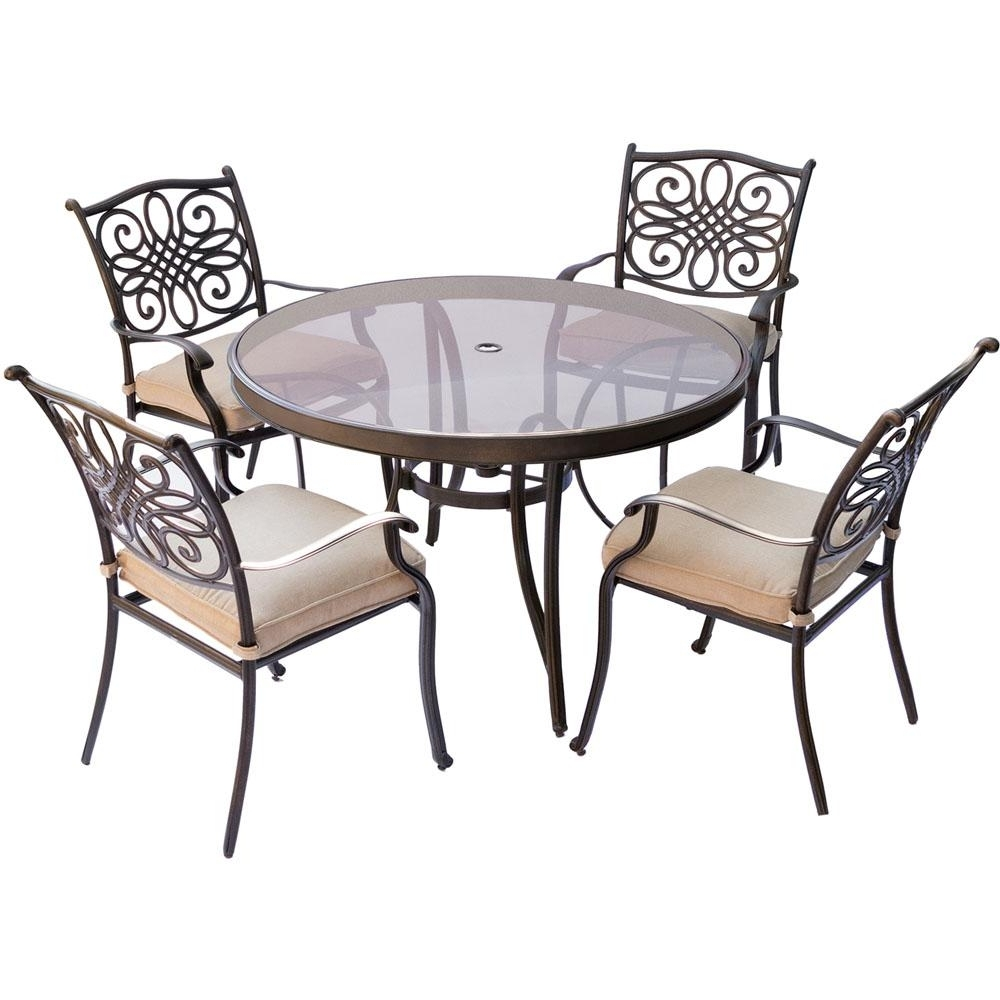Cambridge Seasons 5 Piece Aluminum Outdoor Dining Set With Round Intended For Well Known Cambridge Dining Tables (View 12 of 25)