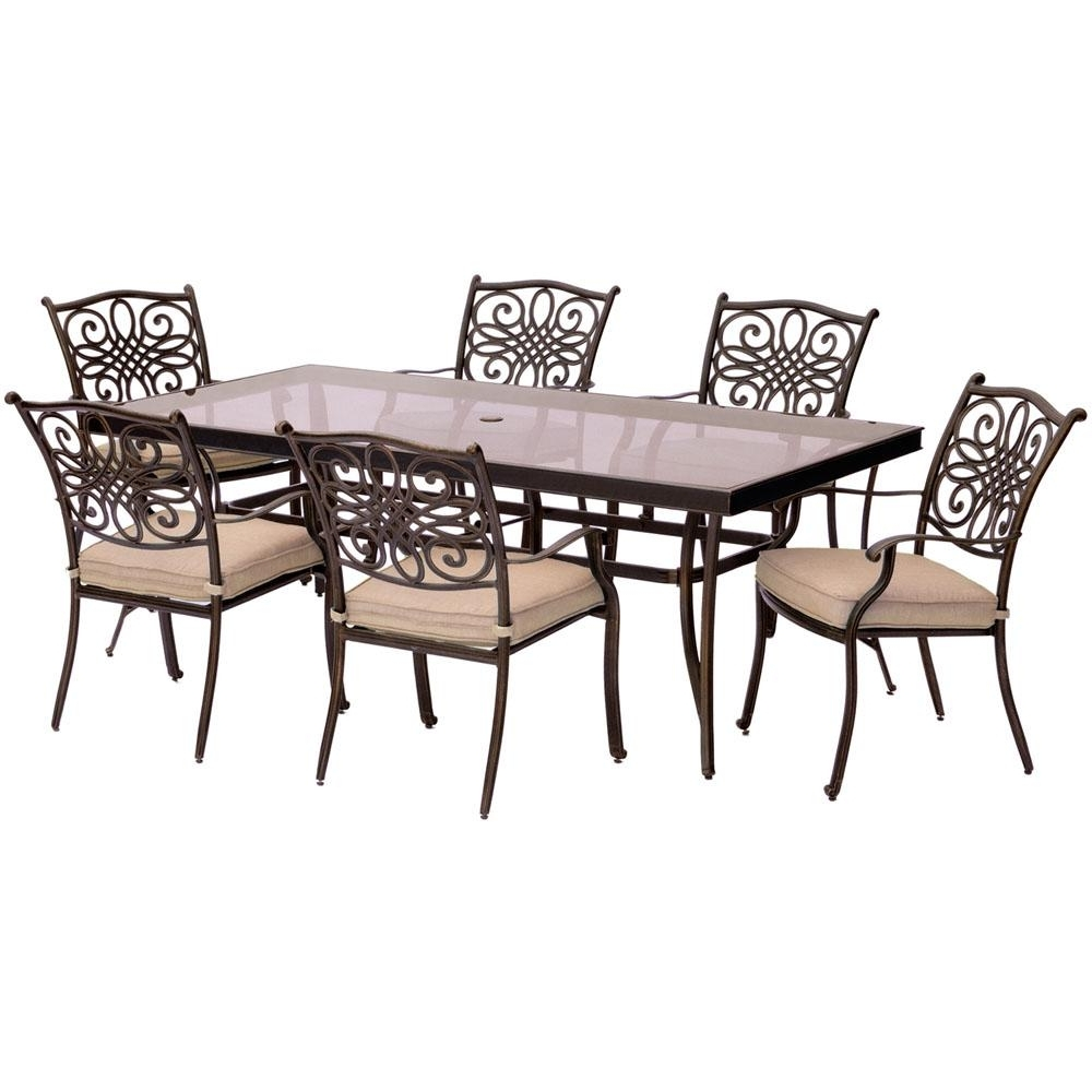 Cambridge Seasons 7 Piece Aluminum Outdoor Dining Set With Tan Within Most Up To Date Cambridge Dining Tables (View 13 of 25)