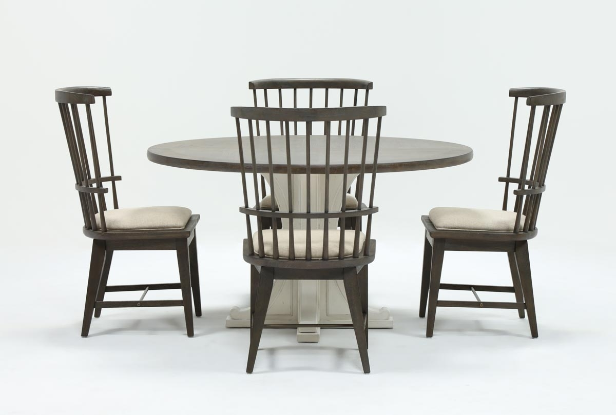 Candice Ii 5 Piece Round Dining Set With Slat Back Side Chairs Within Popular Candice Ii Round Dining Tables (View 2 of 25)