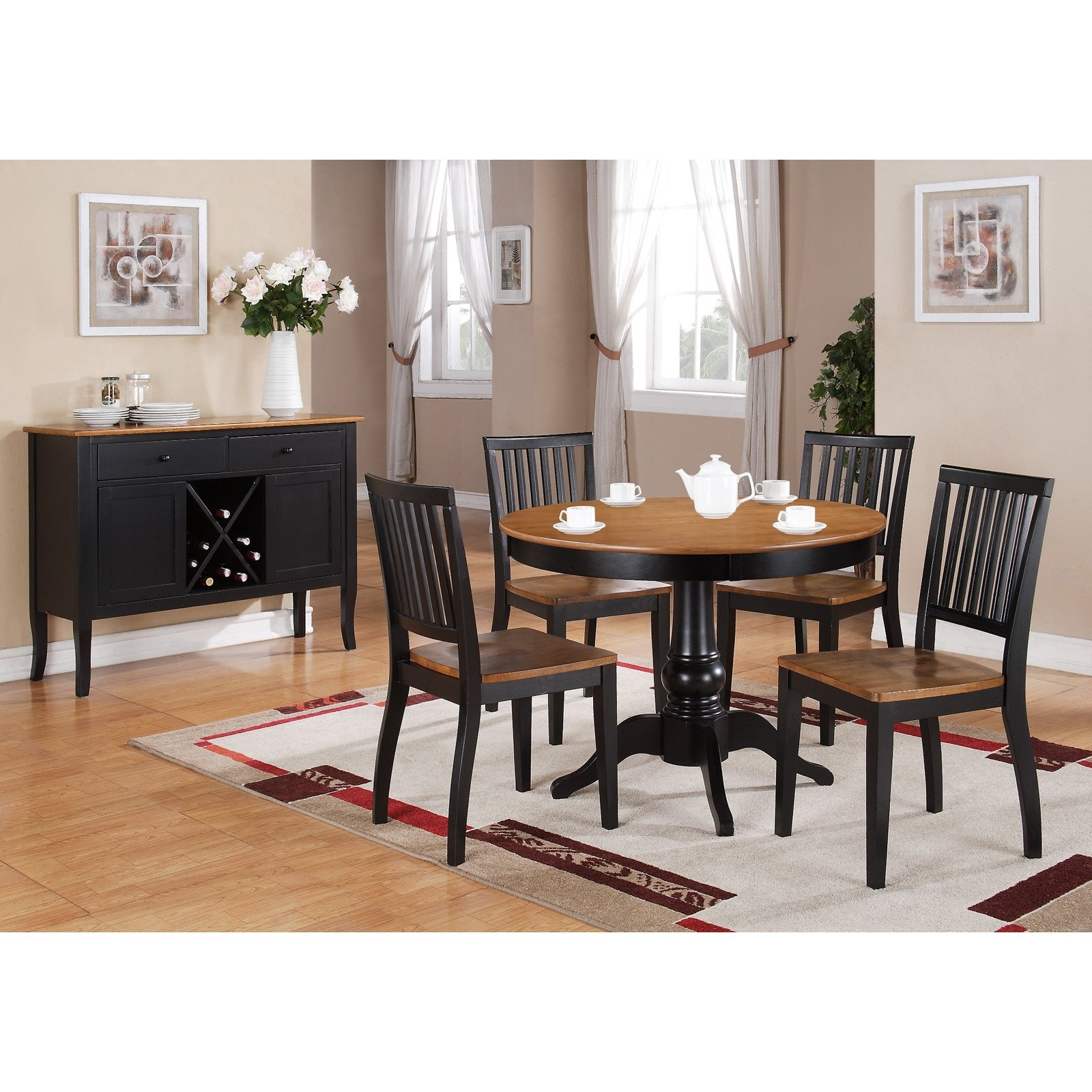 Candice Ii 5 Piece Round Dining Sets With Slat Back Side Chairs Inside Fashionable Steve Silver 5 Piece Candice Two Tone Round Pedestal Dining Table (View 7 of 25)