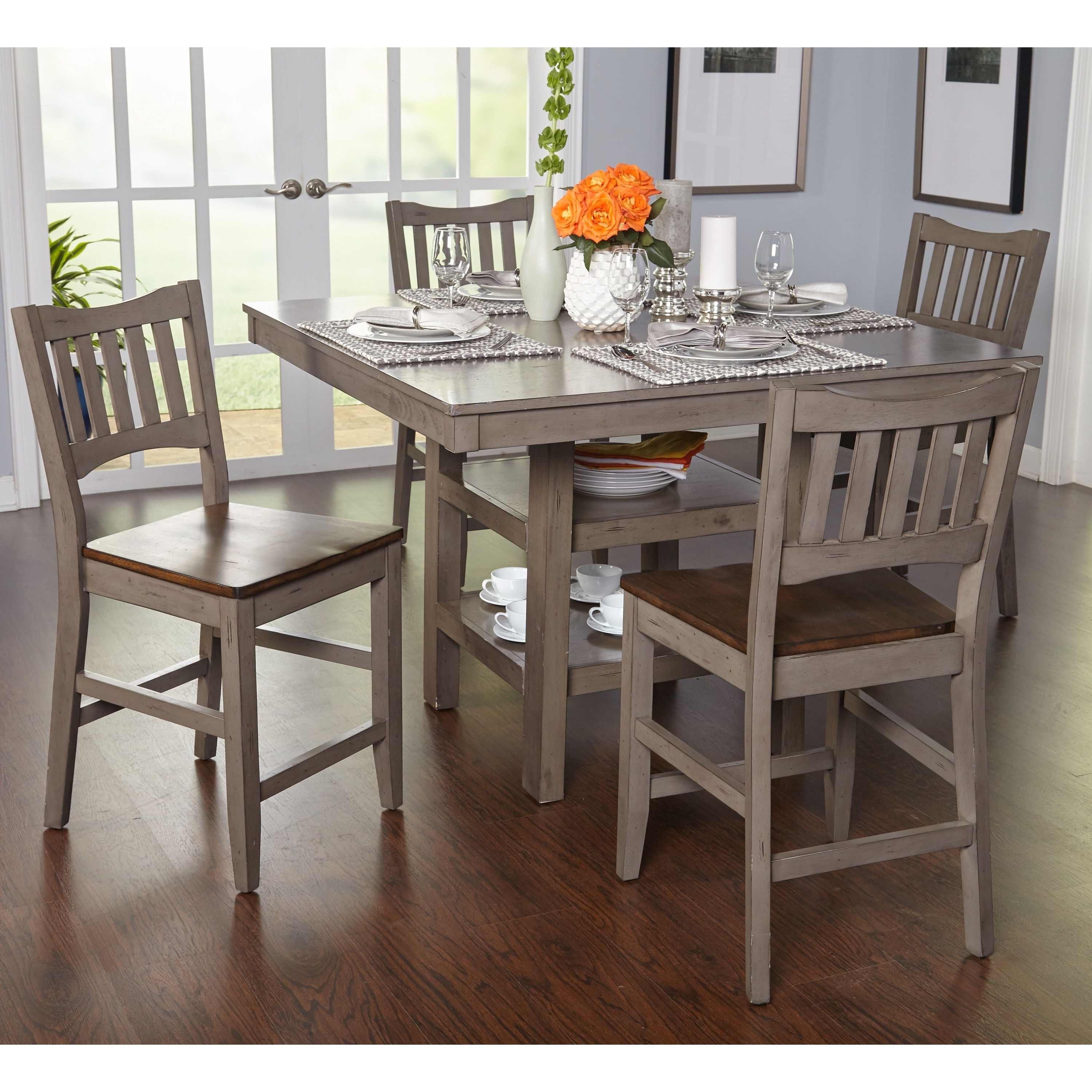 Candice Ii 5 Piece Round Dining Sets With Slat Back Side Chairs Inside Favorite Embrace Transitional Style With This Handsome Simple Living Counter (View 3 of 25)