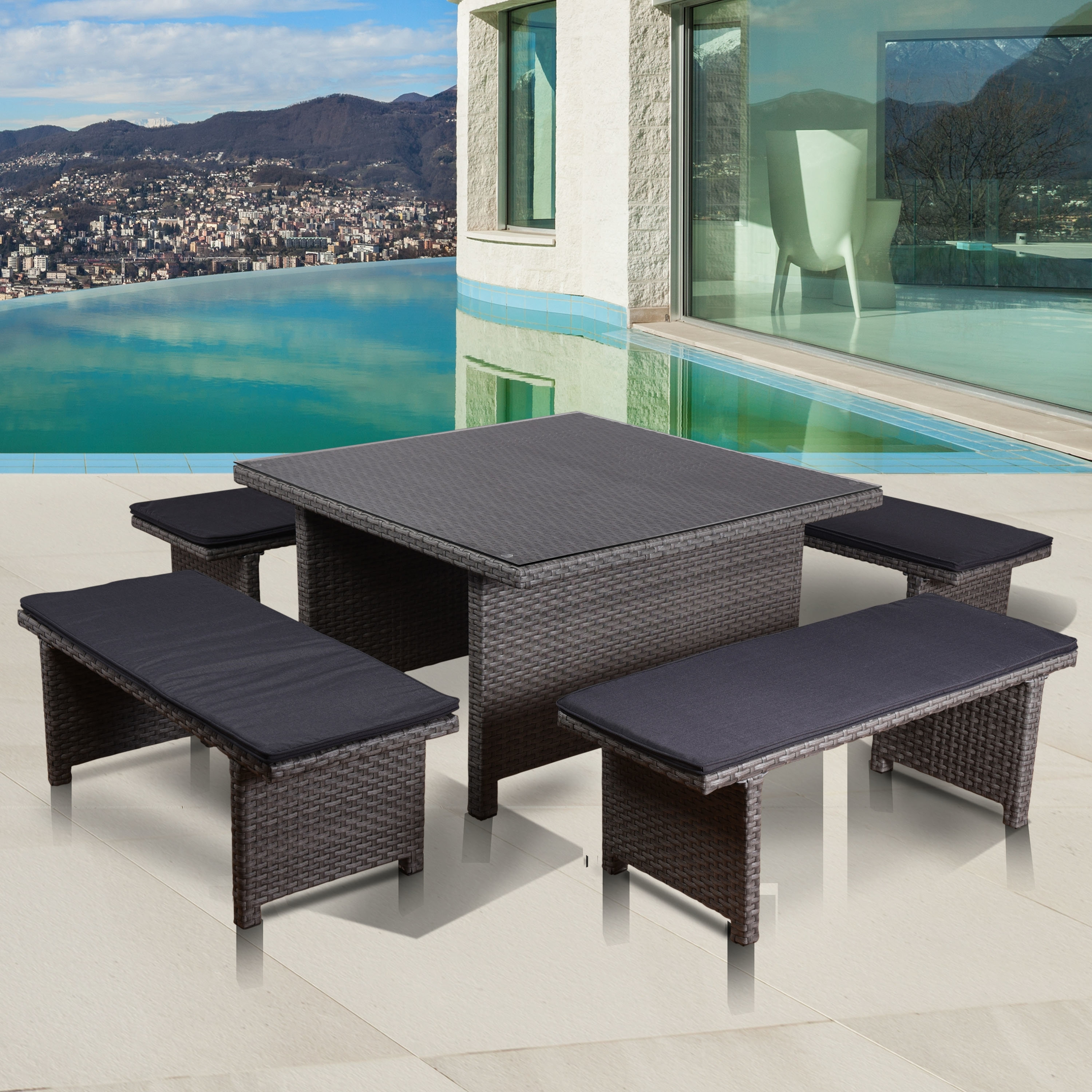 Candice Ii 5 Piece Round Dining Sets With Slat Back Side Chairs Inside Newest Beachcrest Home Neo Low Patio 5 Piece Dining Set With Cushions (Gallery 23 of 25)