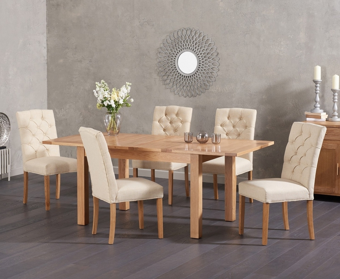 Candice Ii 6 Piece Extension Rectangle Dining Sets Regarding 2018 Cheadle 120Cm Oak Extending Dining Table With Candice Fabric Chairs (View 7 of 25)