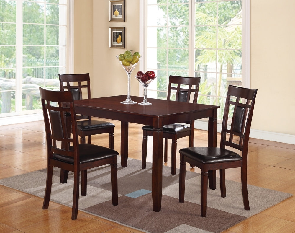 Candice Ii 6 Piece Extension Rectangle Dining Sets Within Most Popular Winston Porter Hoff Wooden And Leather 5 Piece Dining Set (View 17 of 25)