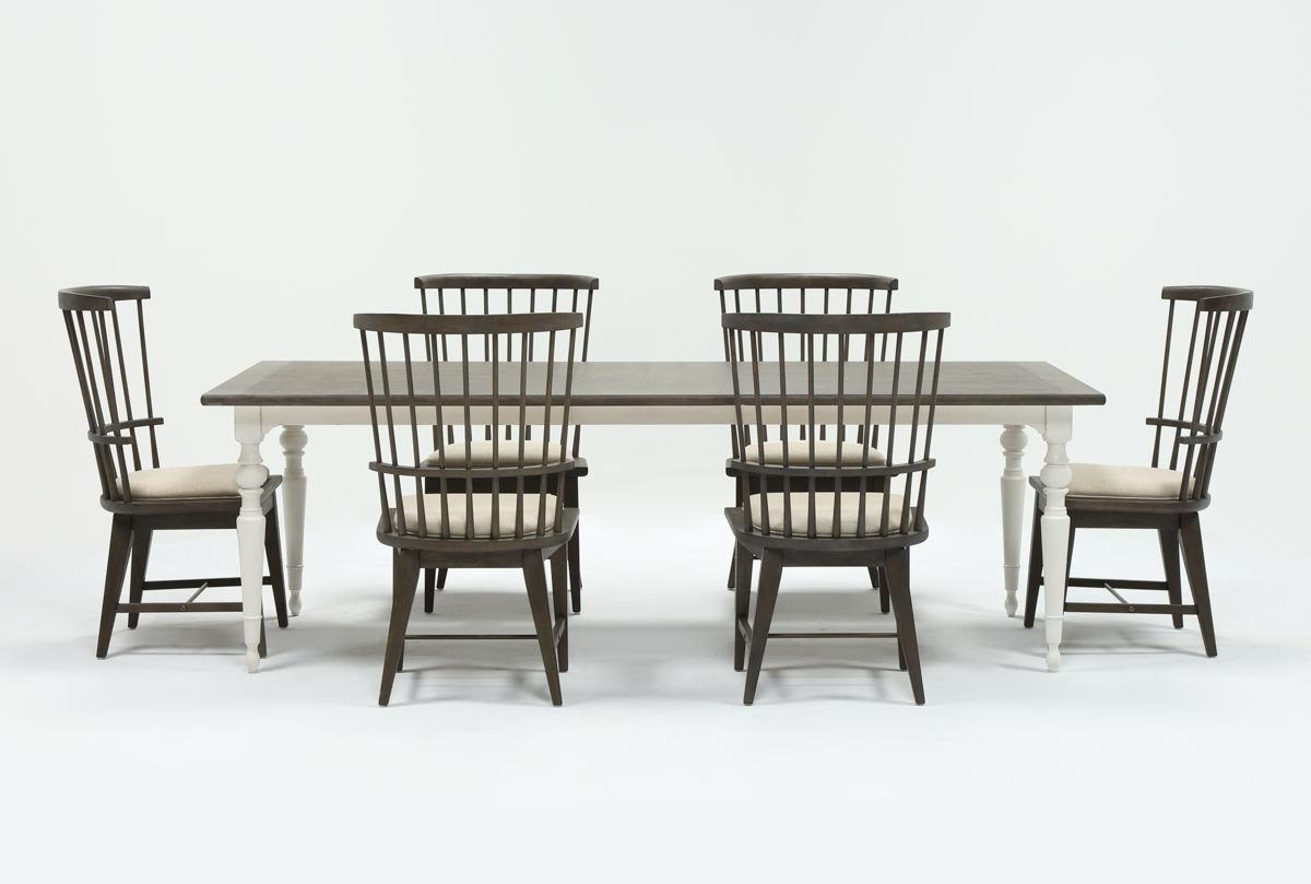 Candice Ii 7 Piece Extension Rectangular Dining Set With Slat Back With Well Liked Candice Ii Round Dining Tables (View 3 of 25)