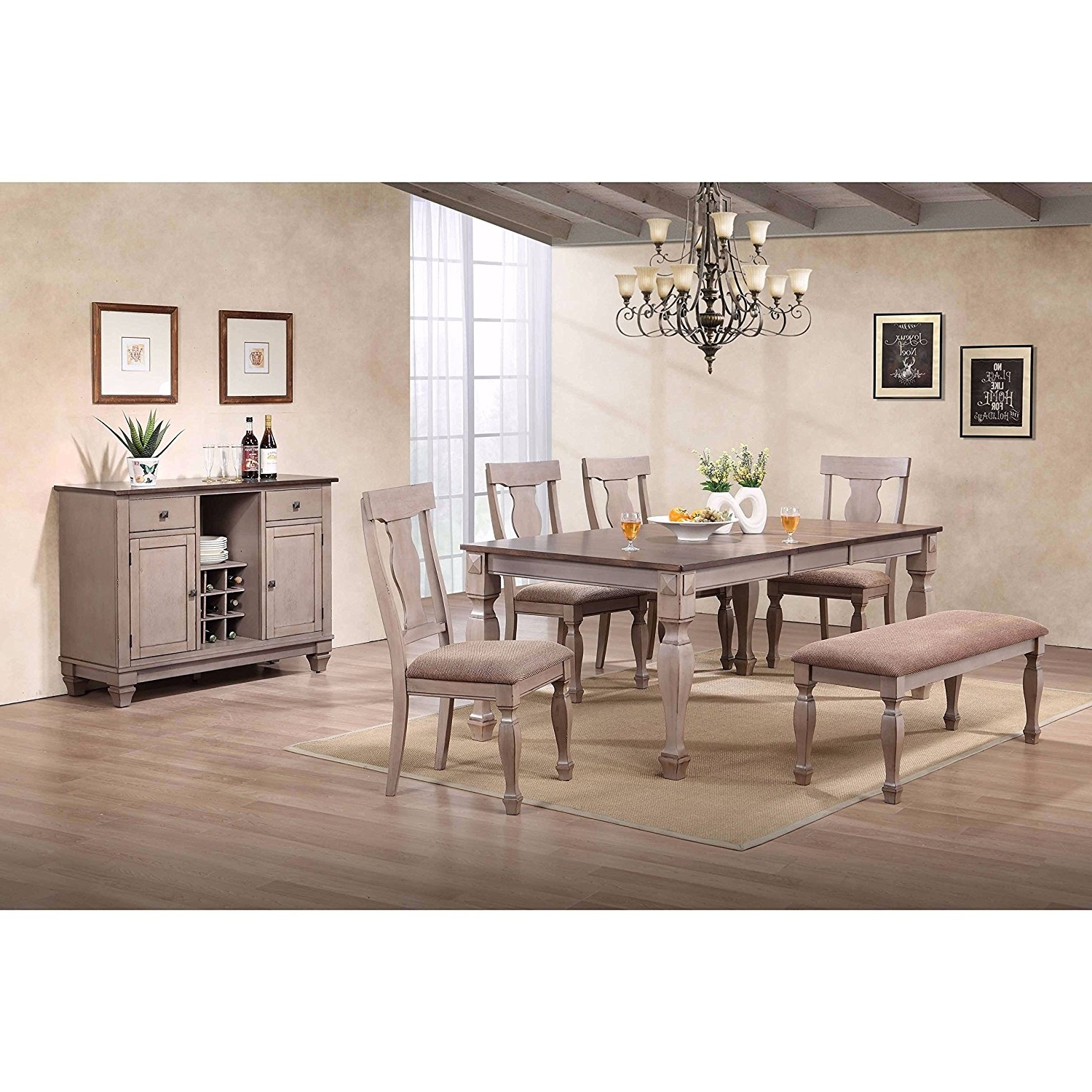 Candice Ii 7 Piece Extension Rectangular Dining Sets With Slat Back Side Chairs Inside Most Recently Released Cheap Two Tone Dining Room, Find Two Tone Dining Room Deals On Line (View 18 of 25)