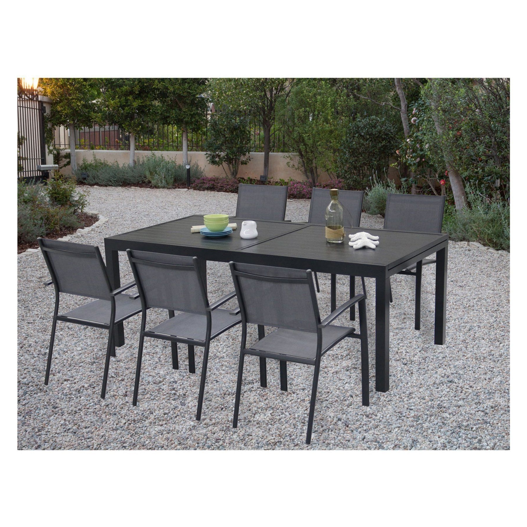 Candice Ii 7 Piece Extension Rectangular Dining Sets With Slat Back Side Chairs Inside Trendy Outdoor Cambridge Nova Aluminum 7 Piece Rectangular Patio Dining Set (Gallery 21 of 25)