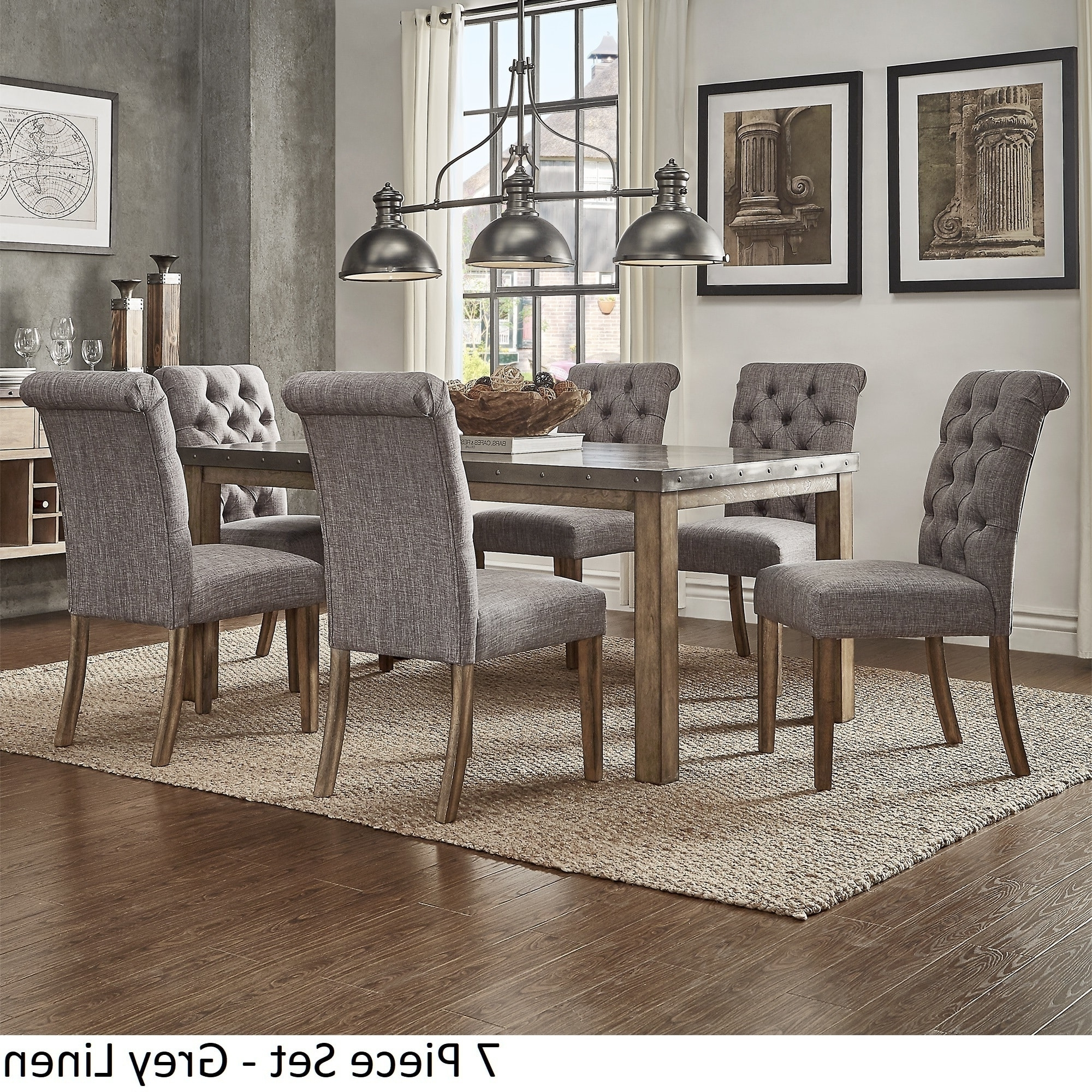 Candice Ii 7 Piece Extension Rectangular Dining Sets With Slat Back Side Chairs Pertaining To Widely Used Cassidy Stainless Steel Top Rectangle Dining Table Setinspire Q (View 11 of 25)