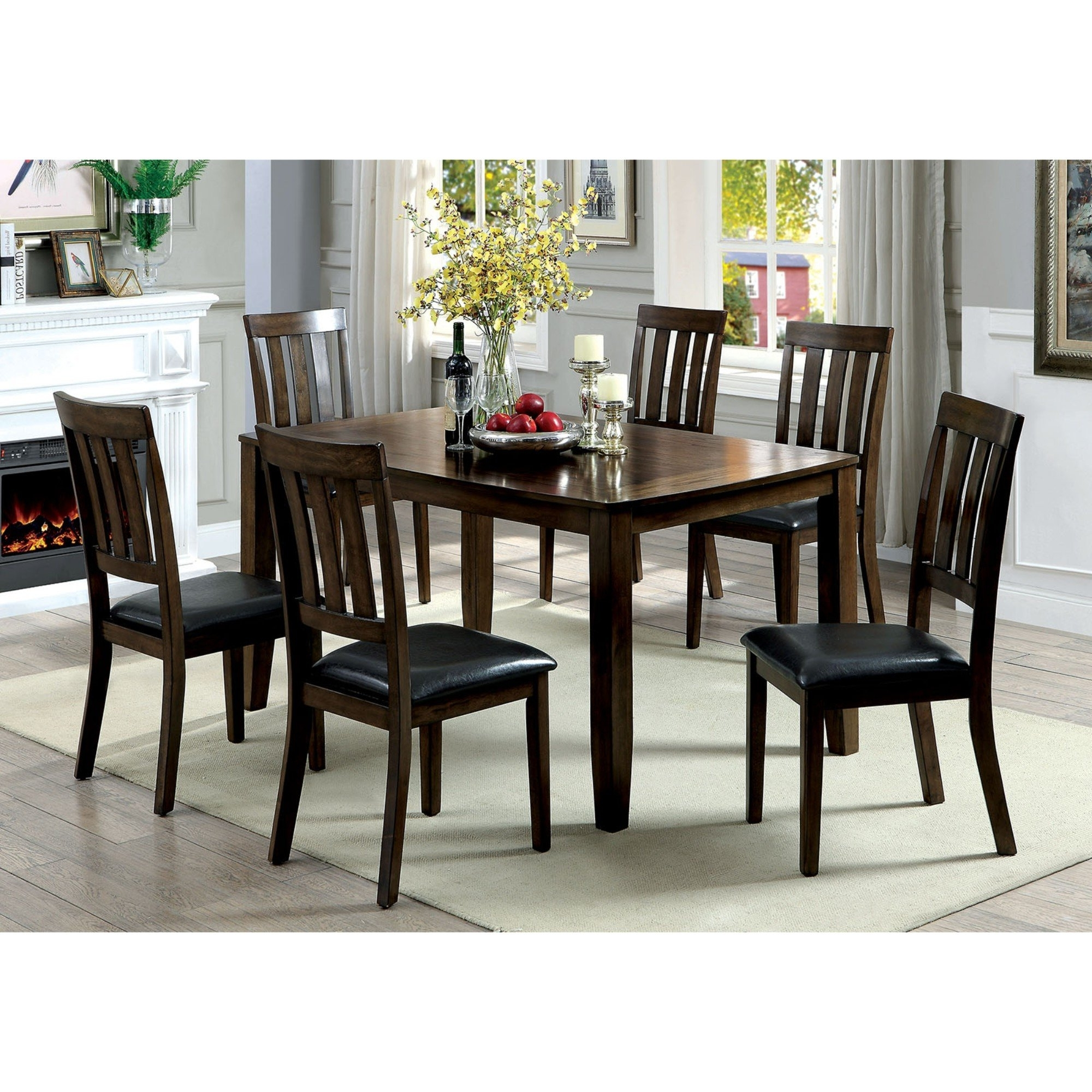 Candice Ii 7 Piece Extension Rectangular Dining Sets With Uph Side Chairs Inside Latest Millwood Pines Devon Wooden 7 Piece Counter Height Dining Table Set (View 4 of 25)