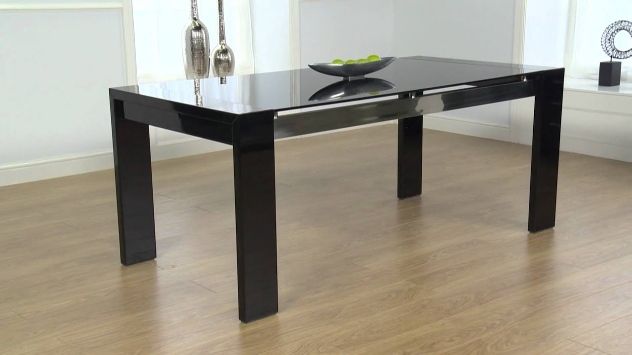 Cannes Black High Gloss Dining Table – Ofstv – Youtube In Current Black High Gloss Dining Tables (View 6 of 25)