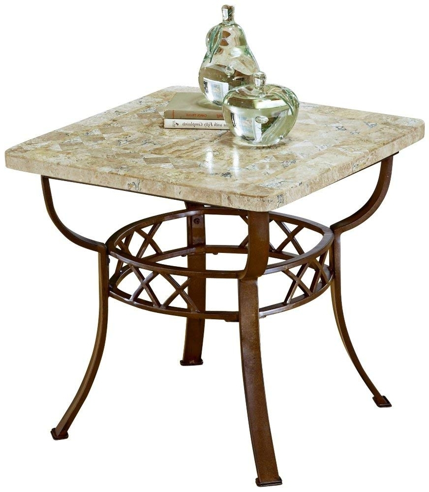 Carly 3 Piece Triangle Dining Sets In Popular Amazon: Furniture Brookside Fossil End Table (Metallic Brown (View 20 of 25)