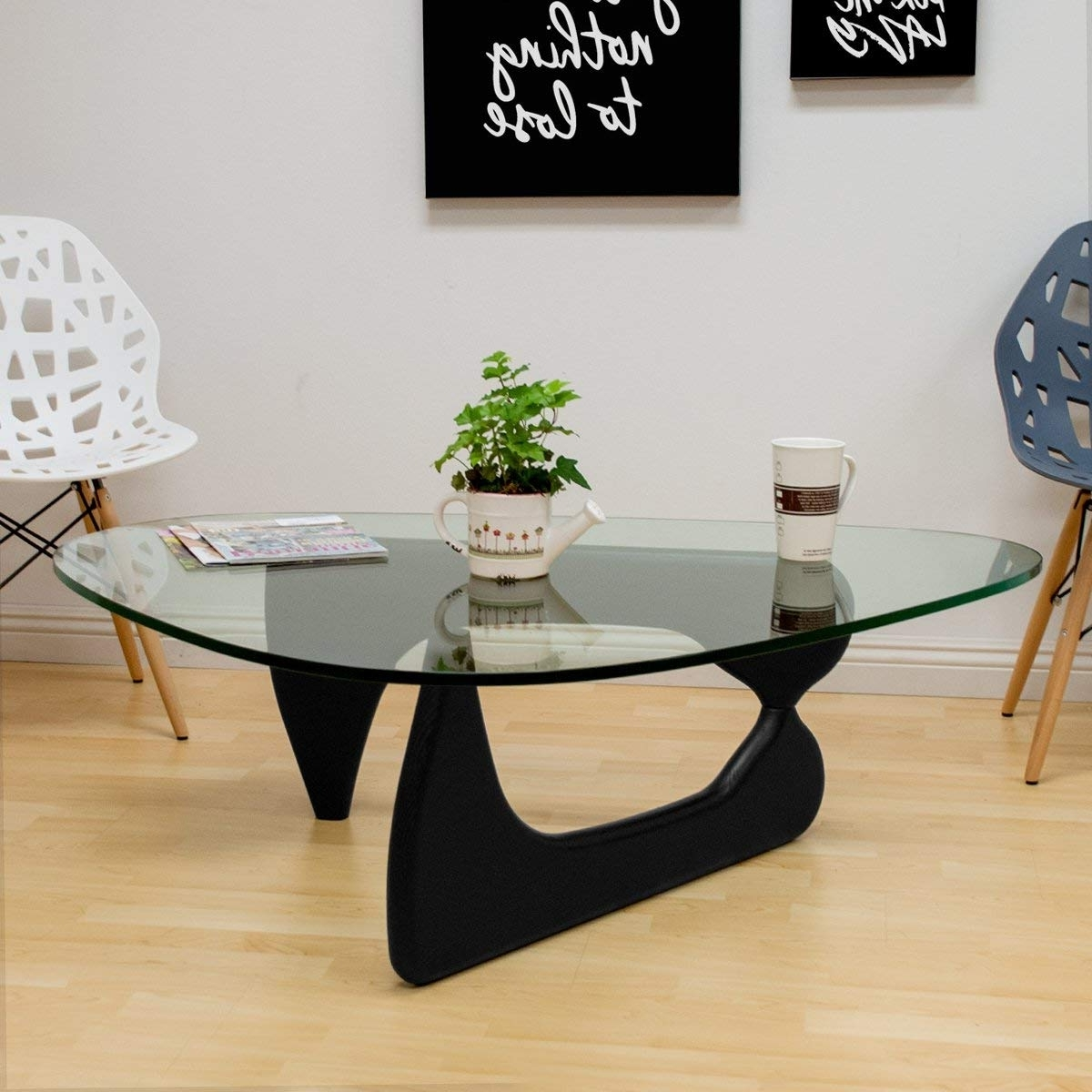 Carly 3 Piece Triangle Dining Sets Within Well Liked Amazon: Mod Made Tribeca Coffee Table, Black: Kitchen & Dining (View 9 of 25)