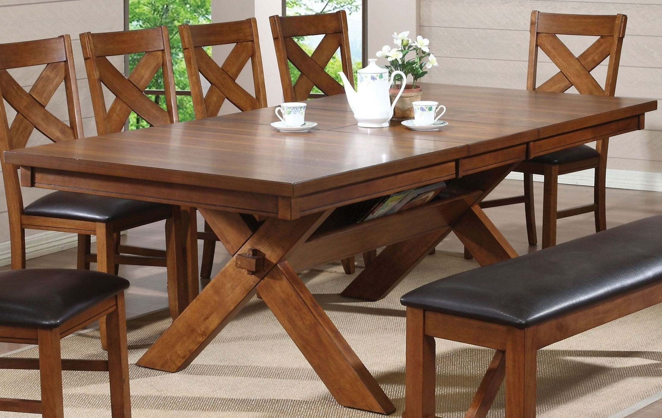 Carly Rectangle Dining Tables With Fashionable Apollo Walnut Extendable Rectangular Dining Table From Acme (View 9 of 25)