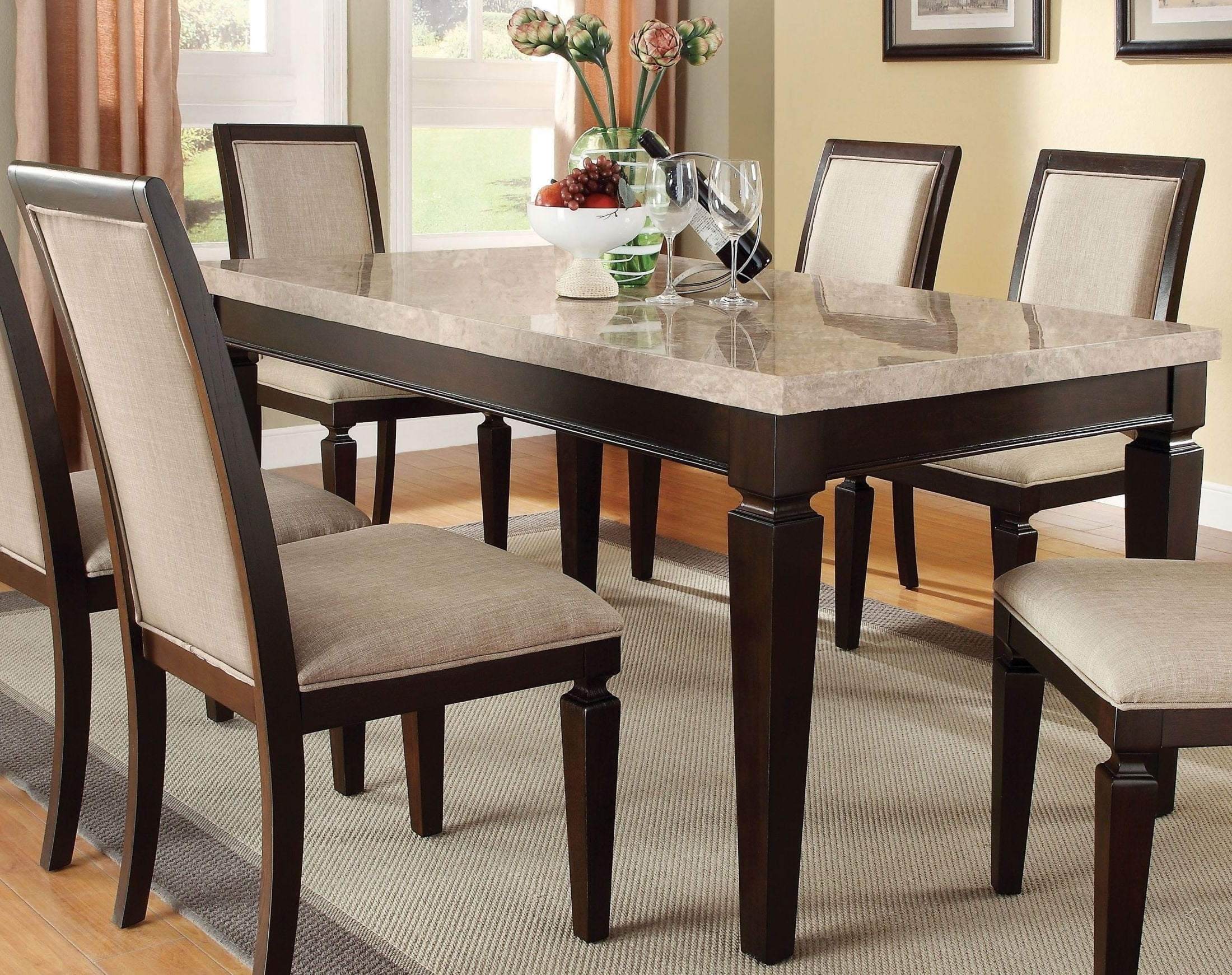 Carly Rectangle Dining Tables With Most Popular Agatha White Marble And Espresso Rectangular Dining Table From Acme (View 12 of 25)