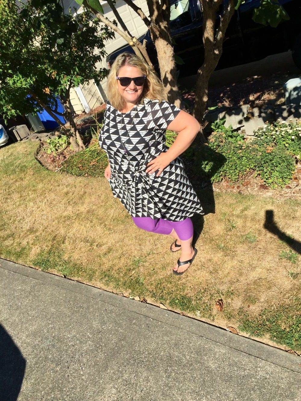 Carly Triangle Tables Within Well Liked Lularoe Black And White Triangle Carly And Purple Leggings (View 10 of 25)