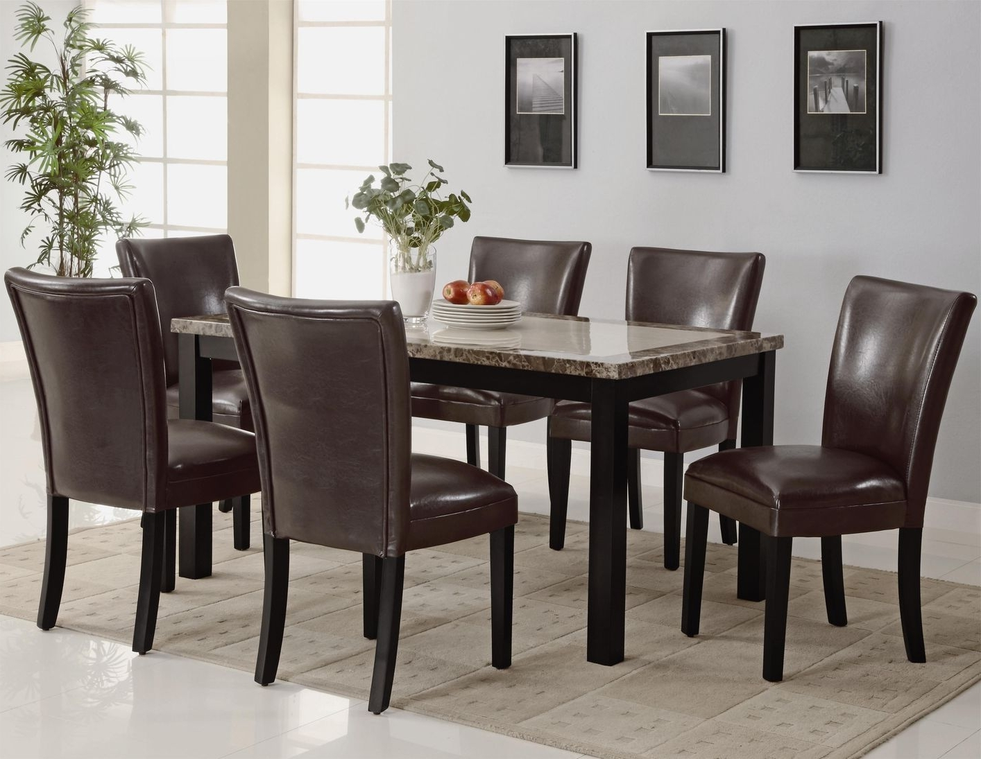 Carter Dark Brown Wood And Marble Dining Table Set – Steal A Sofa In Current Dark Brown Wood Dining Tables (Gallery 1 of 25)