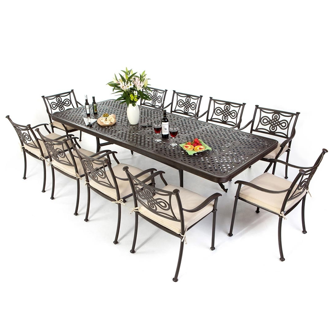 Cast Aluminium 12 Seat Extending Dining Set For Current Extending Dining Table With 10 Seats (View 9 of 25)