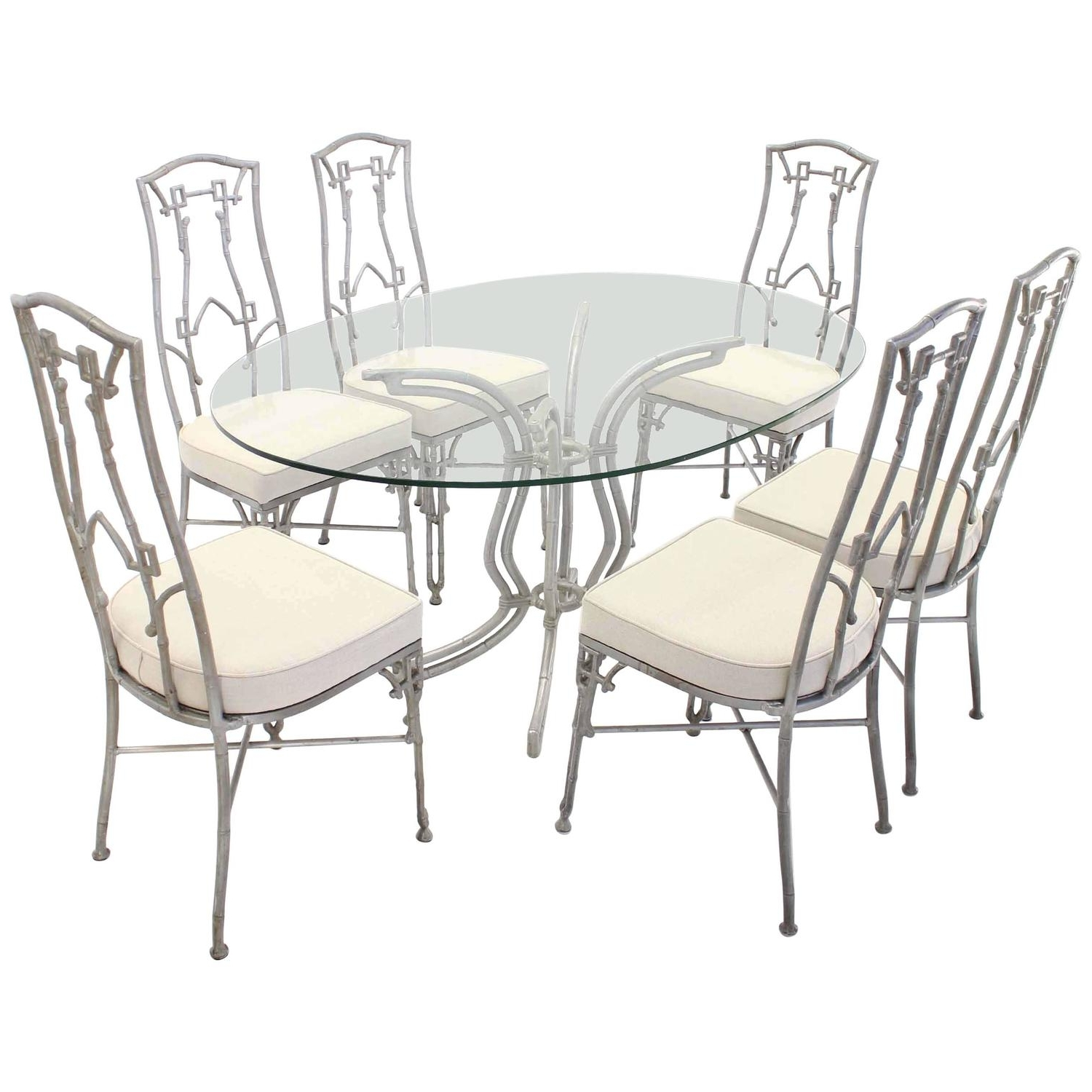 Cast Aluminum Faux Bamboo Mid Century Modern Six Chairs And Table Intended For Most Recently Released Dining Tables And Six Chairs (View 6 of 25)