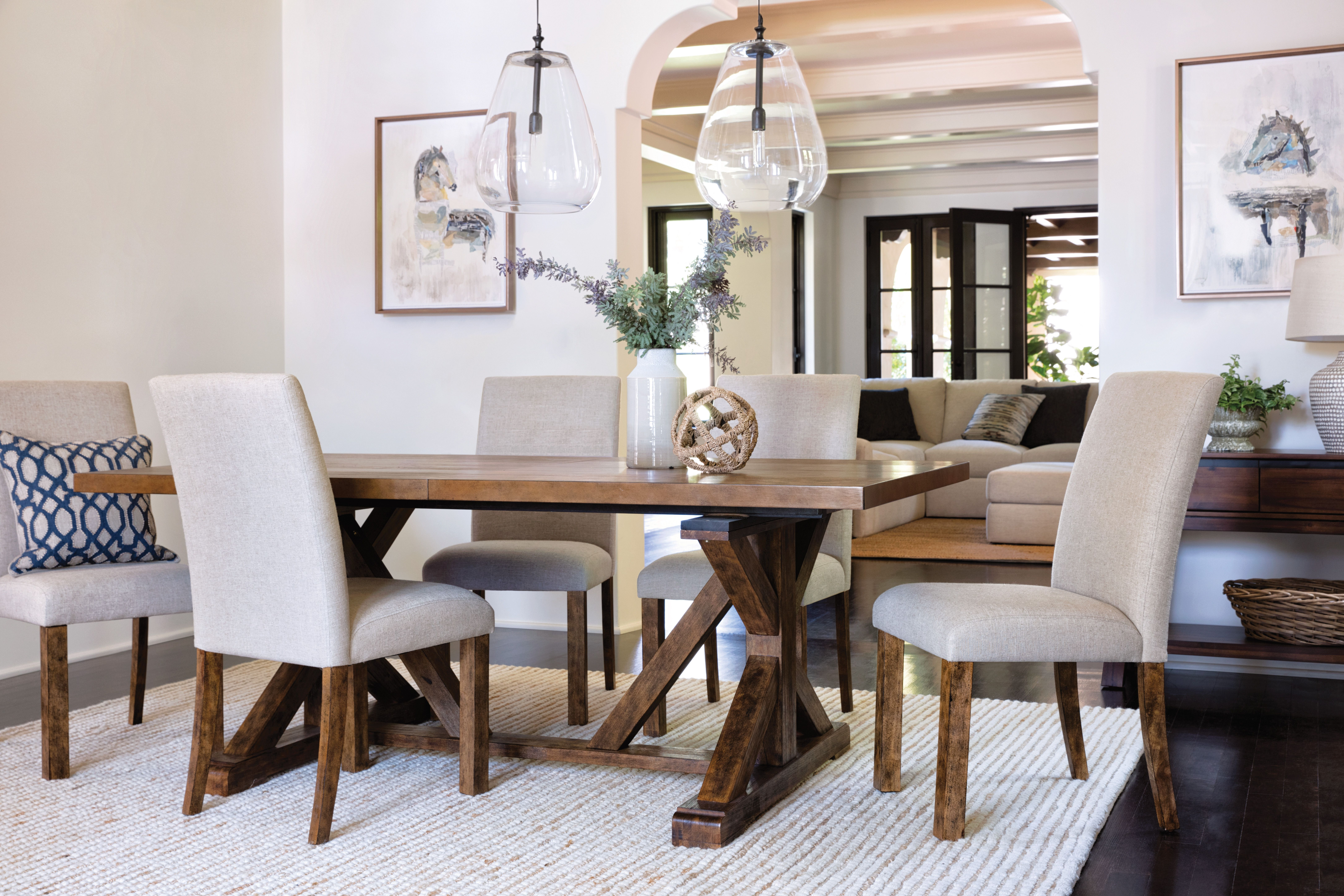 Casual In Most Up To Date Chandler 7 Piece Extension Dining Sets With Fabric Side Chairs (View 2 of 25)