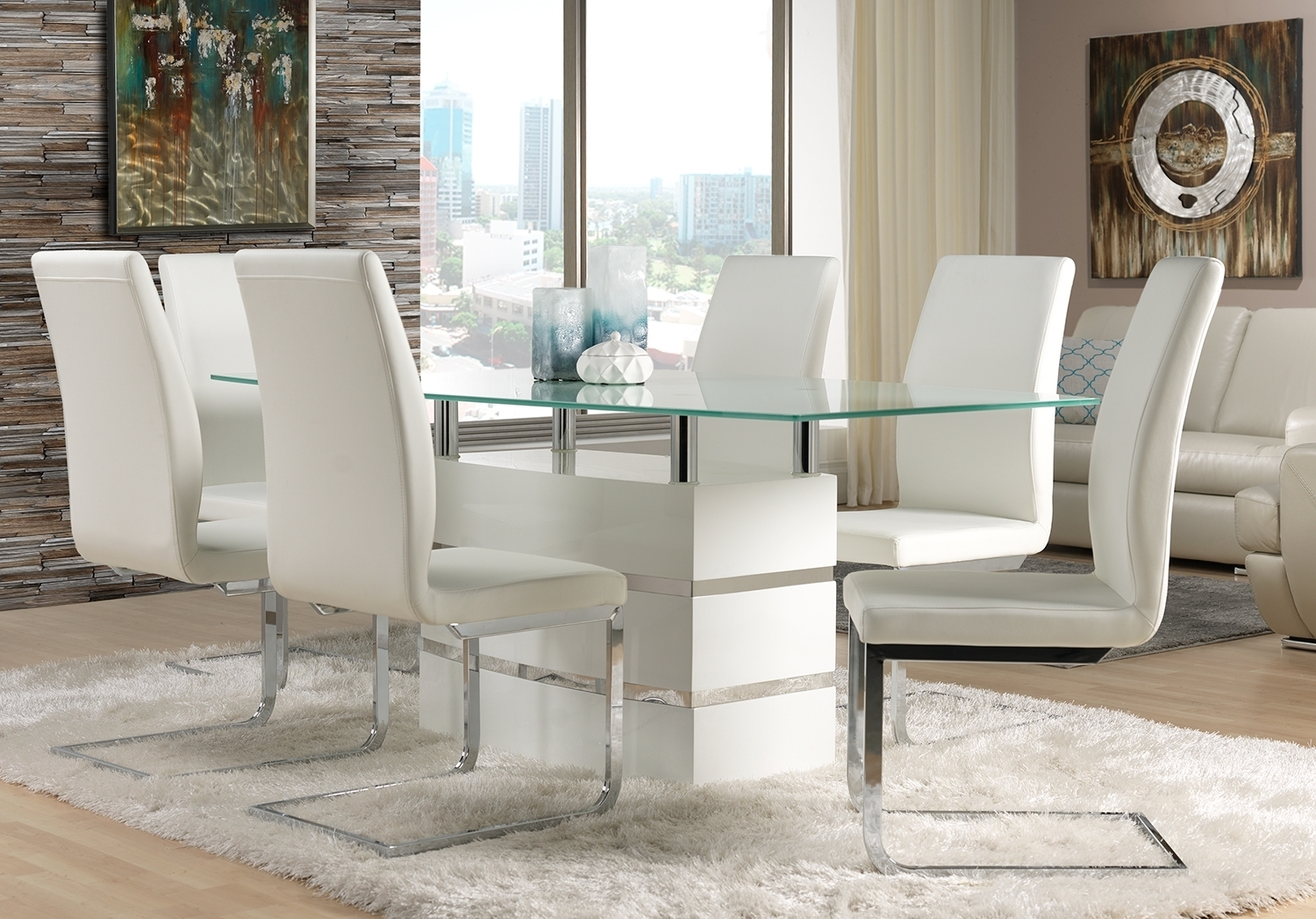 Chair Fabulous Glass Dining Table And White Leather Dining Chair With Favorite White Glass Dining Tables And Chairs (View 5 of 25)