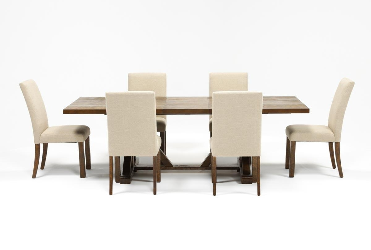 Chandler 7 Piece Extension Dining Set W/fabric Side Chairs (View 7 of 25)