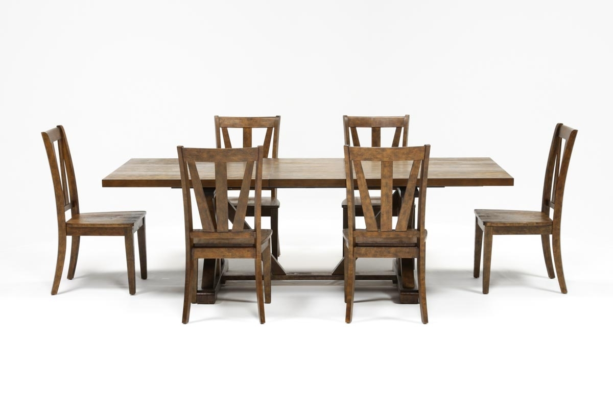 Chandler 7 Piece Extension Dining Set W/wood Side Chairs (View 4 of 25)