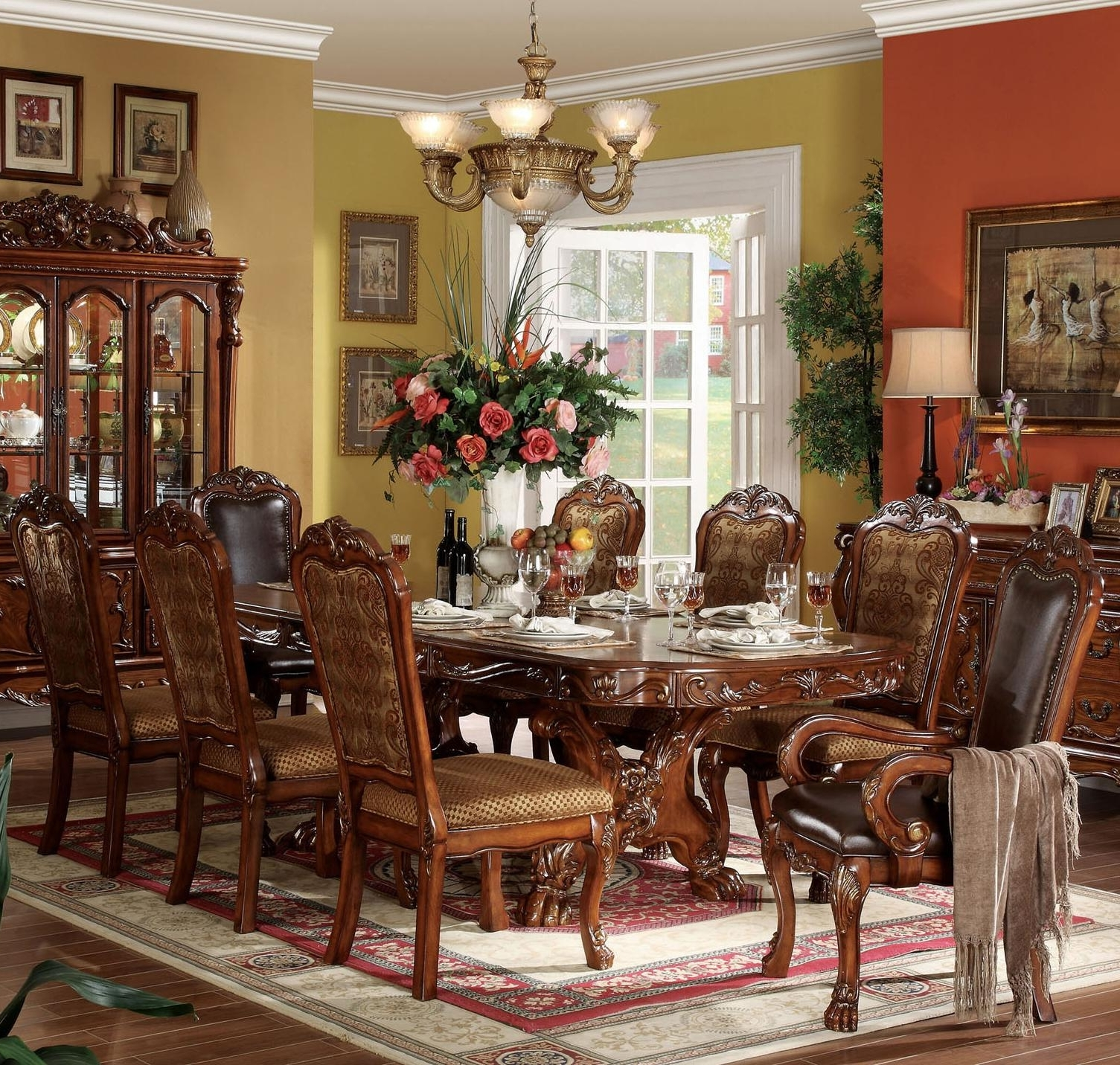 Chandler 7 Piece Extension Dining Sets With Fabric Side Chairs For Famous Acme Furniture Dresden 9 Piece Dining Table And Chair Set (View 17 of 25)