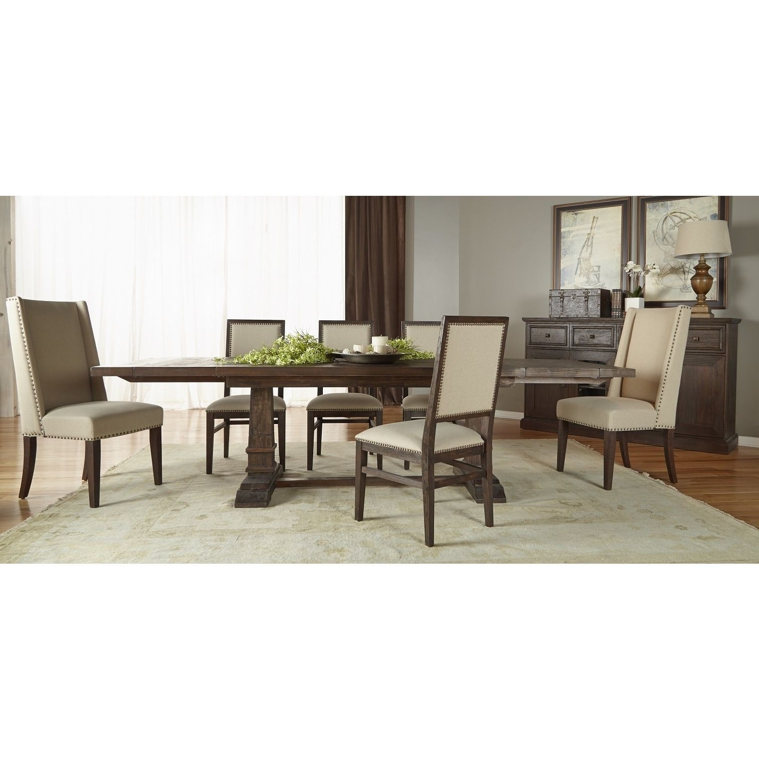 Chandler 7 Piece Extension Dining Sets With Fabric Side Chairs In Recent Gray Manor Harlan Rustic Java Double Pedestal Extension Dining Table (View 8 of 25)