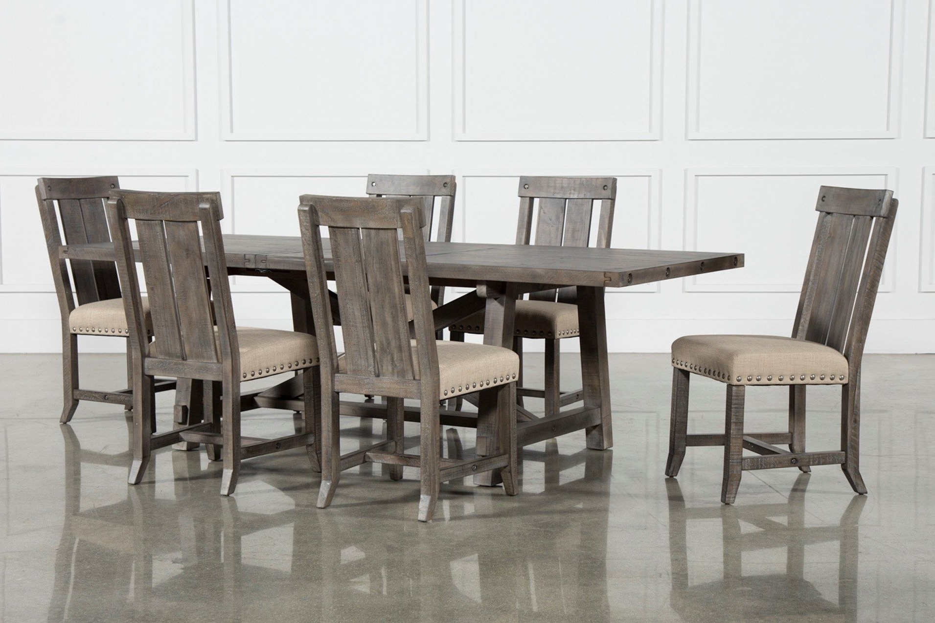 Chandler 7 Piece Extension Dining Sets With Wood Side Chairs In Most Up To Date Jaxon Grey 7 Piece Rectangle Extension Dining Set W/wood Chairs (View 6 of 25)