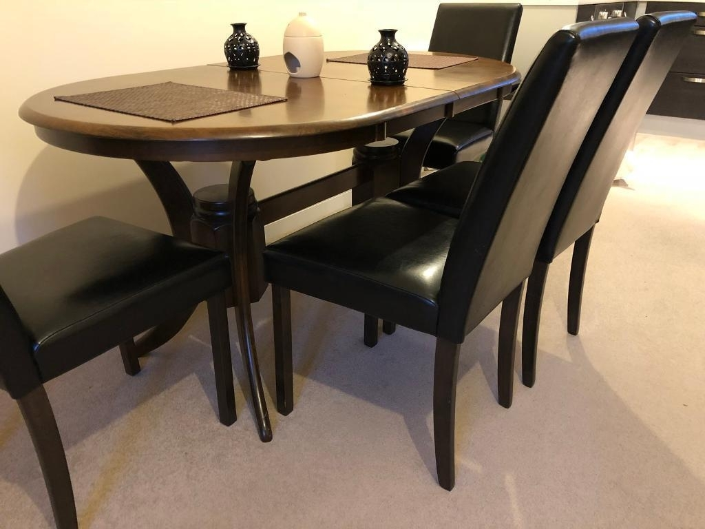 Chatsworth Dark Wood Extending Dining Table – With 4 Bewley Brown Intended For Well Liked Dark Wood Extending Dining Tables (View 5 of 25)