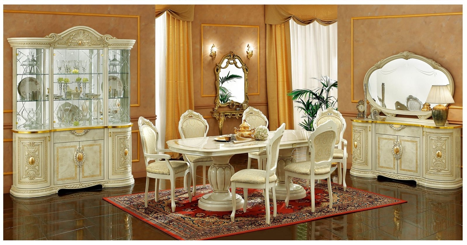 Cheap Dining Tables Sets In Newest Esf Furniture Leonardo 7Pc Dining Table Set In Ivorydining Rooms (View 23 of 25)