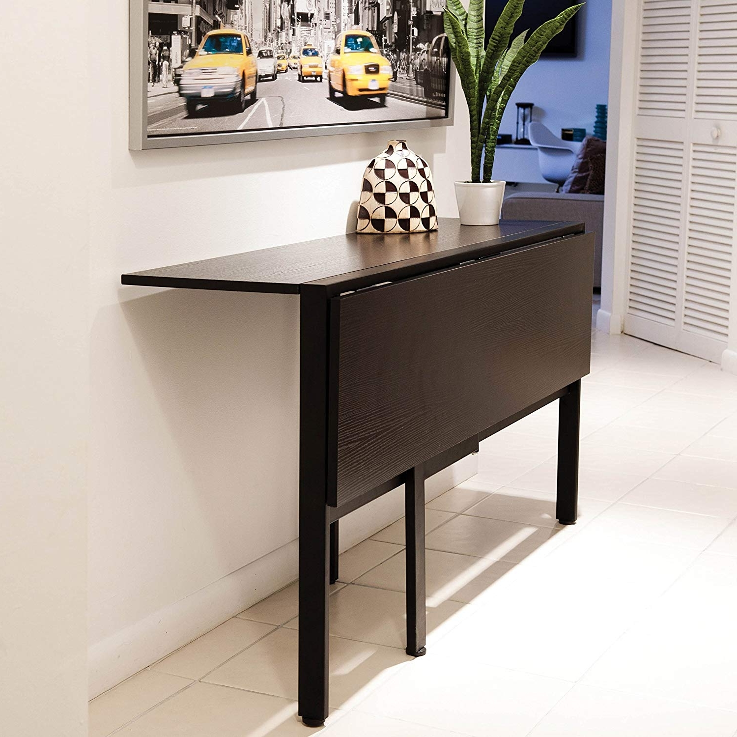 Cheap Drop Leaf Dining Tables With Most Popular Amazon: Mix Laminate Wood Metal Frame Espresso Rectangle Folding (View 5 of 25)