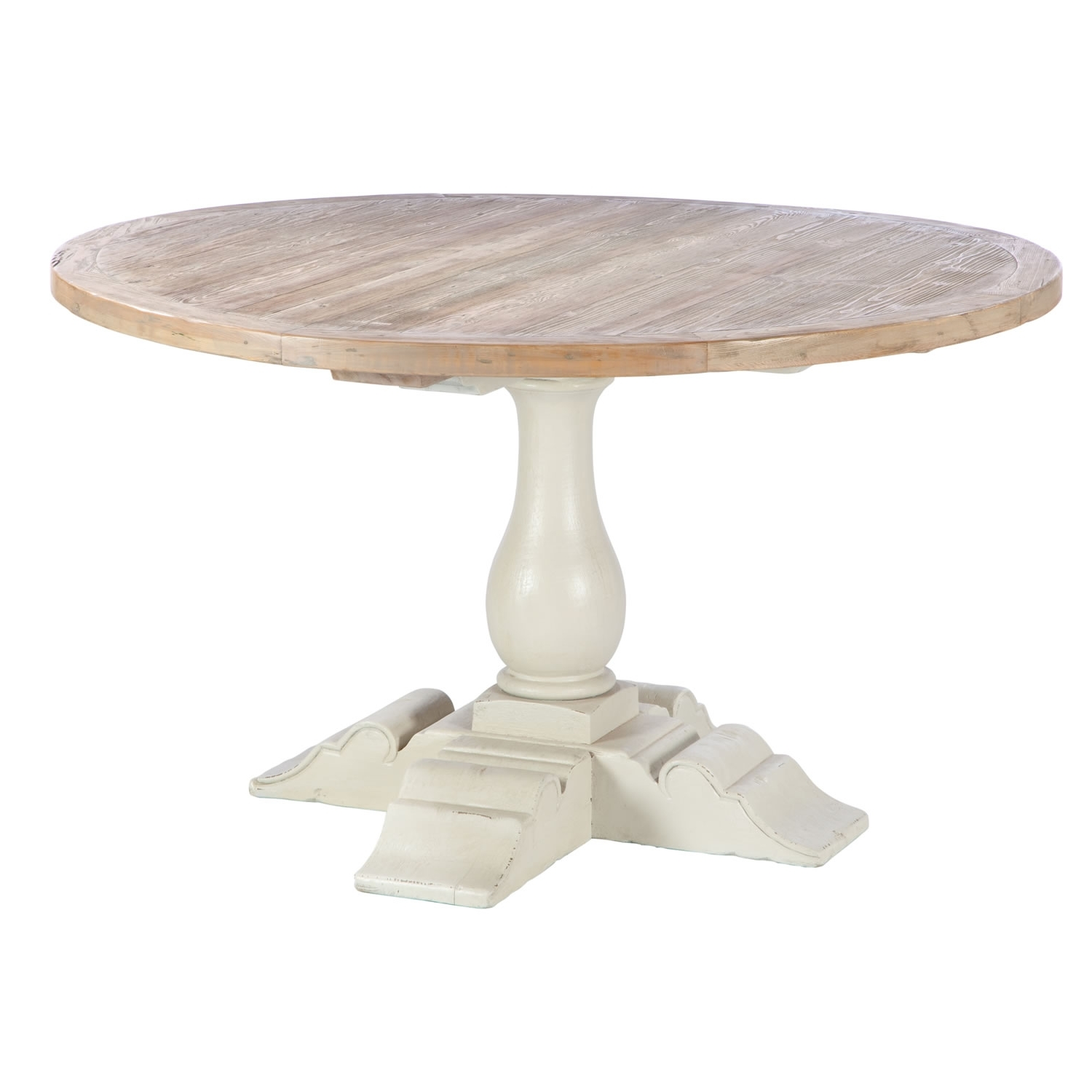 Cheap Extendable Dining Tables With Popular Round Shabby Brown Wooden Dining Table With White Wooden Base Of (View 18 of 25)