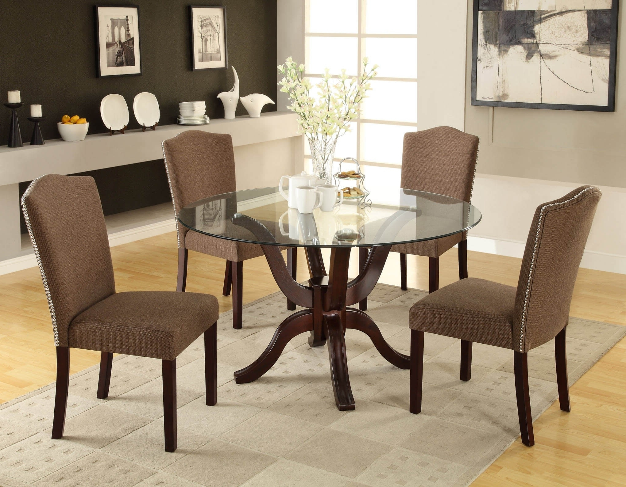 Cheap Glass Dining Tables And 6 Chairs Regarding Best And Newest Round Glass Dining Table Sets For 4 Best Of Round Glass Dining Table (View 19 of 25)