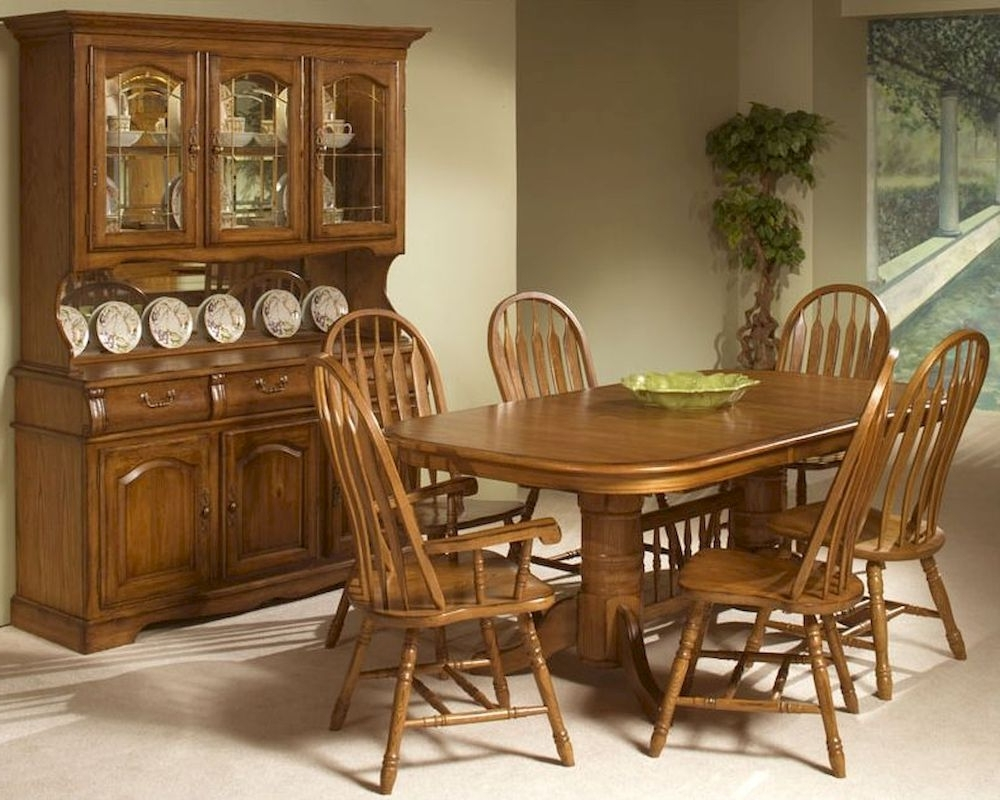Cheap Oak Dining Sets In Recent Intercon Solid Oak Trestle Dining Set Classic Oak Incoi4296Set (View 5 of 25)