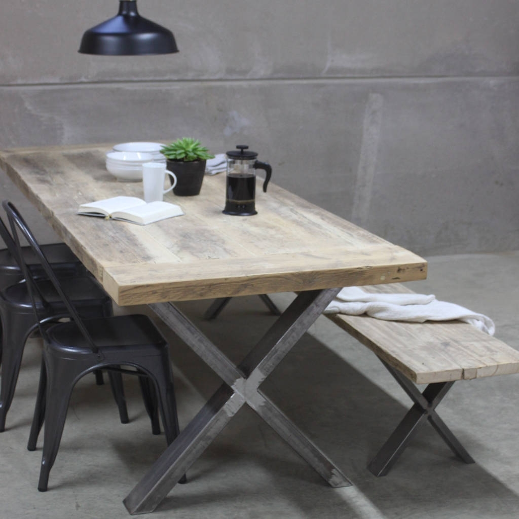 Cheap Reclaimed Wood Dining Tables Inside Newest Xavier Reclaimed Wood Dining Table With Steel X Framerust (View 6 of 25)