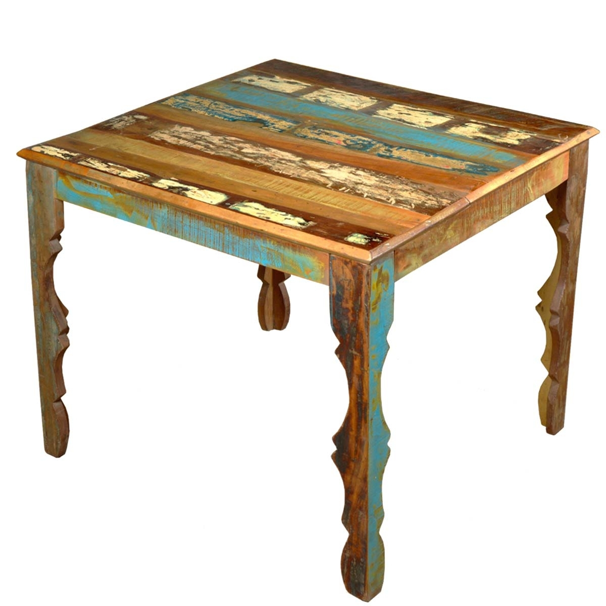 "Cheap Reclaimed Wood Dining Tables Pertaining To Well Known Rustic Reclaimed Wood 36"" Square Dining Table W Decorative Legs (View 7 of 25)"