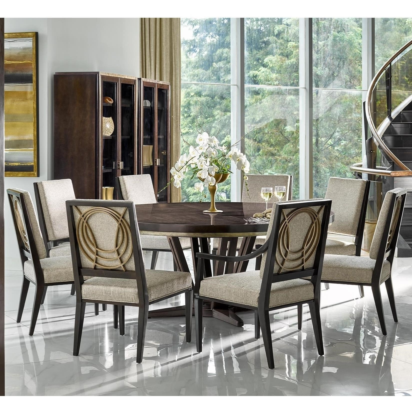 Cheery Caira Piece Extension Set Back Chairs Caira Piece Extension In Most Recently Released Walden 9 Piece Extension Dining Sets (View 13 of 25)