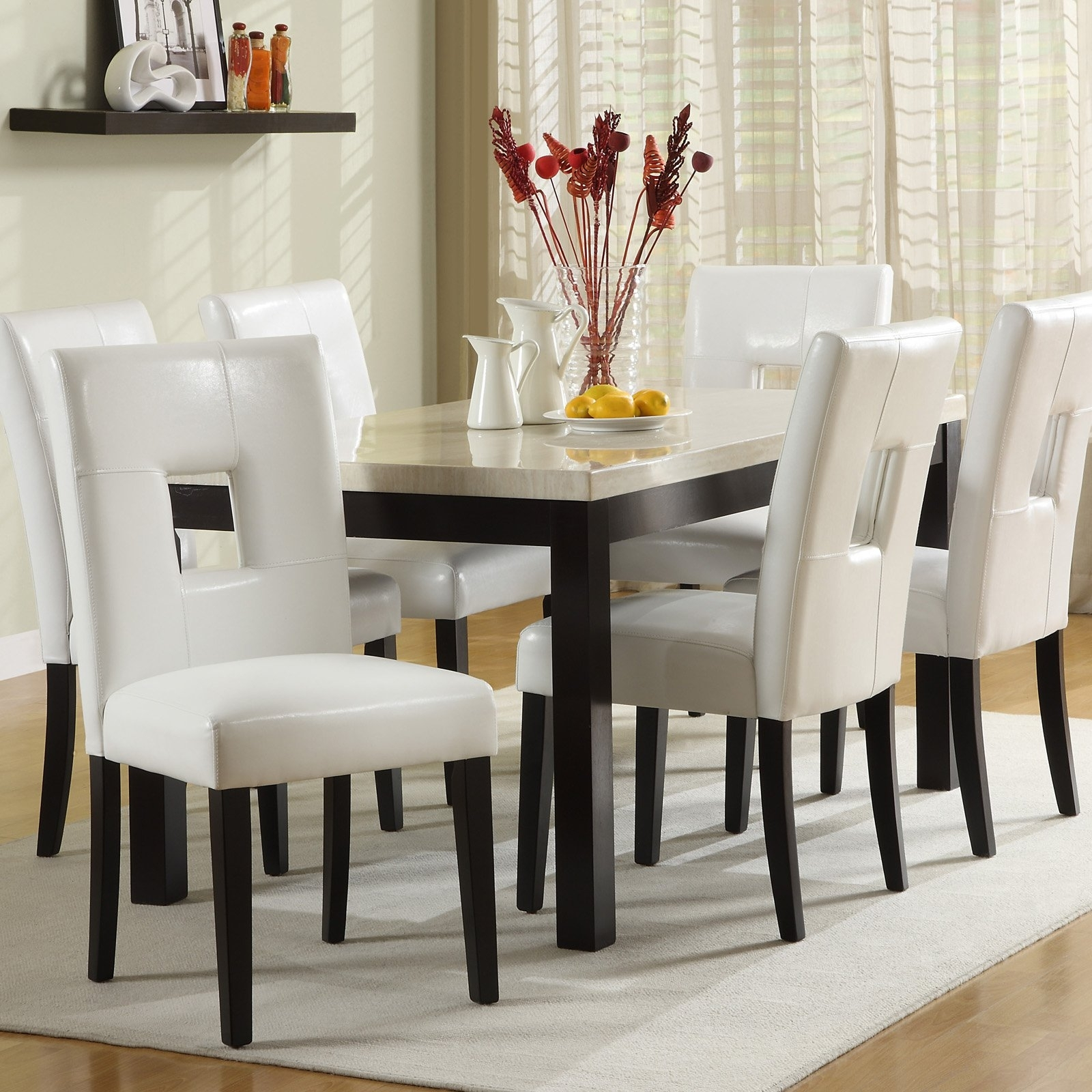 Chelsea Lane Archibald 7 Piece White Dining Set – 60 In. – Walmart For Well Known White Dining Sets (Gallery 16 of 25)