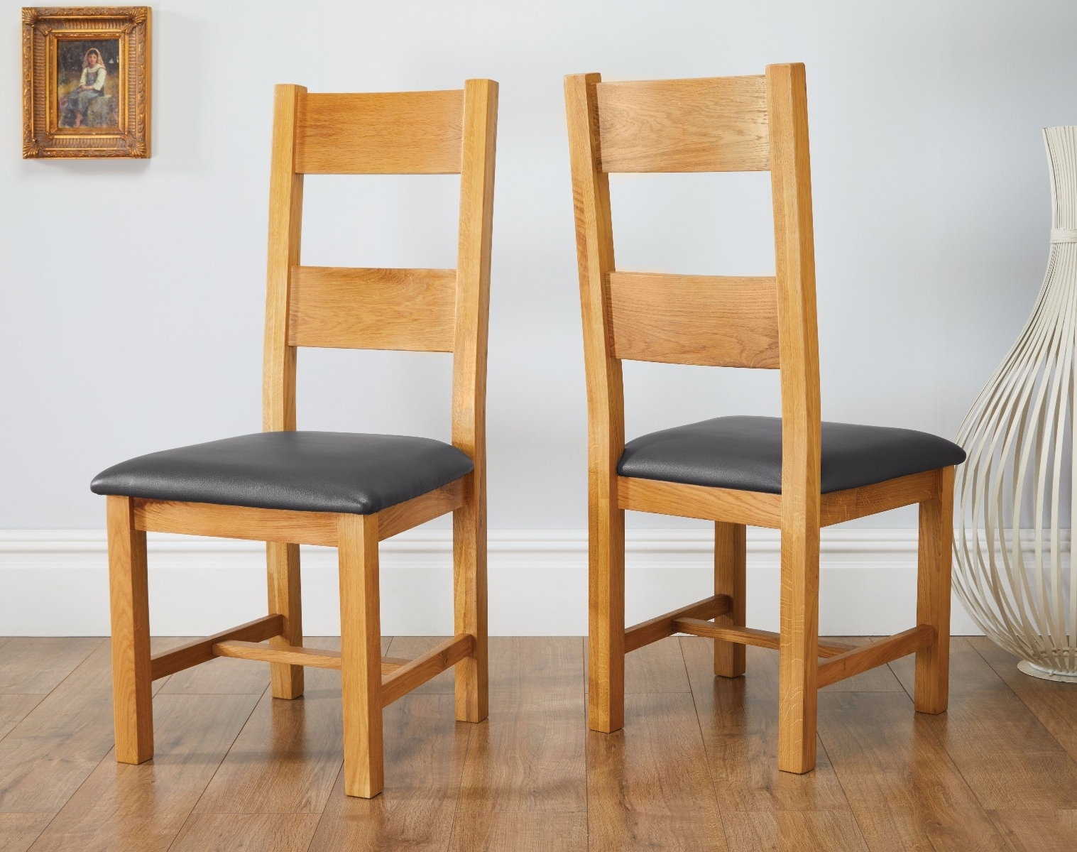 Chester Dining Chairs Inside Popular Chester Country Oak Ladder Back Black Leather Seat Oak Dining Chair (Gallery 16 of 25)