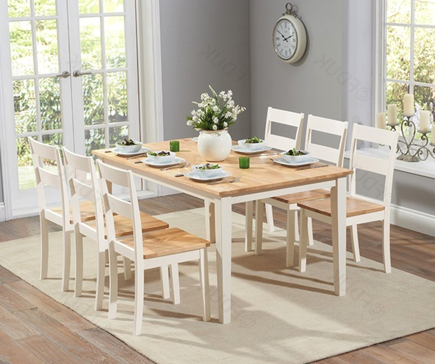 Chichester Oak And Cream Large Dining Table (View 1 of 25)