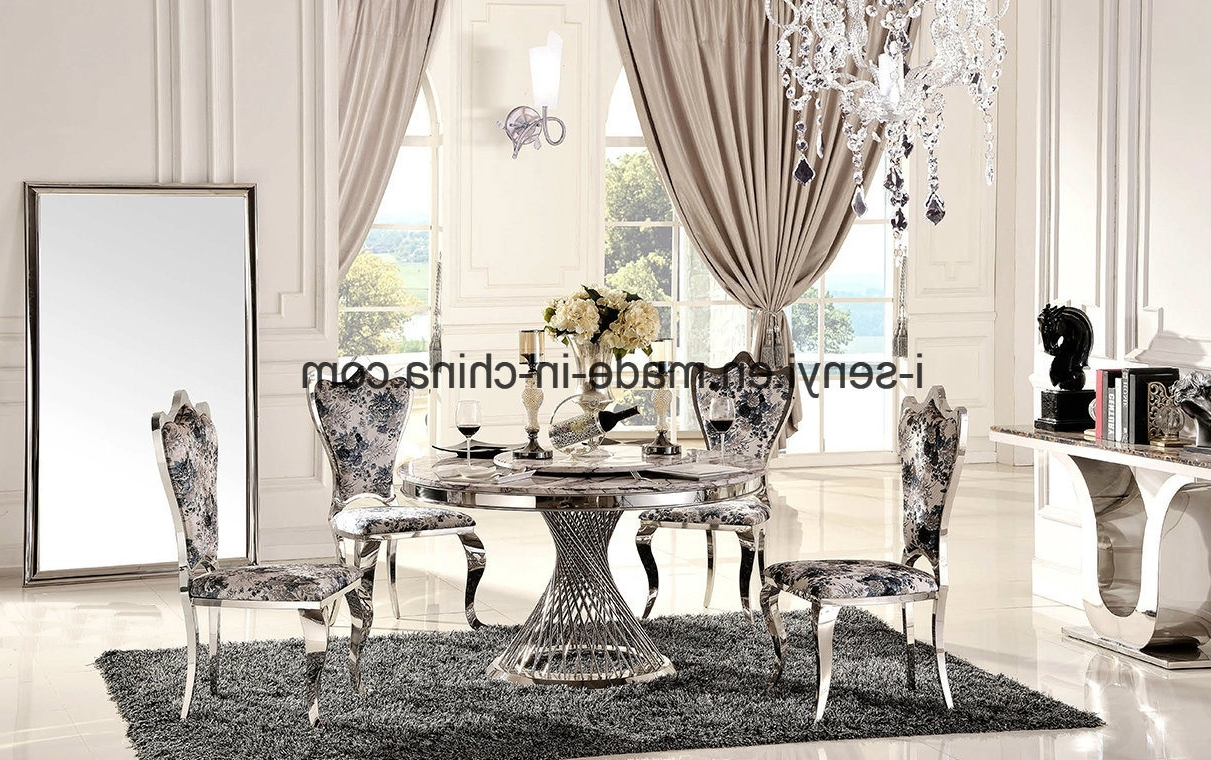 China 6 Person Marble Top Stainless Steel Base Round Dining Table With Trendy 6 Person Round Dining Tables (View 19 of 25)