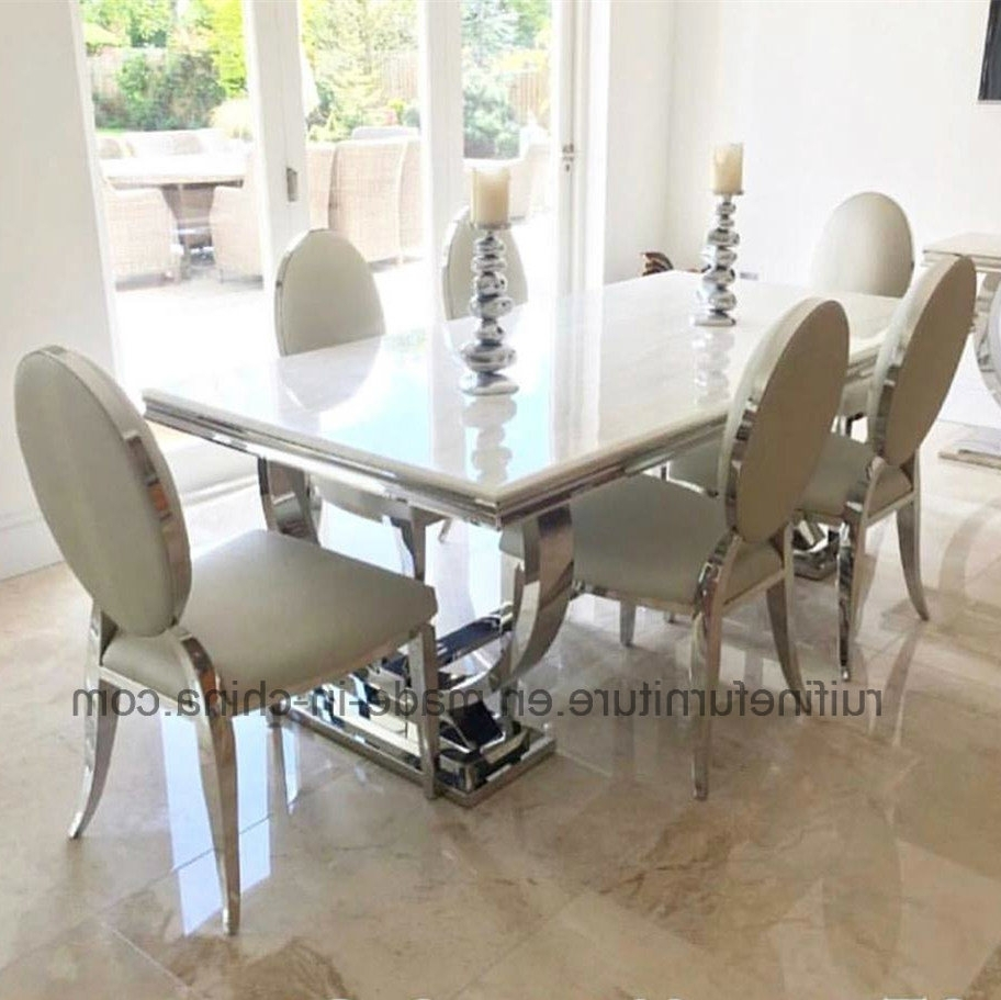 China Dining Room Furniture Modern Dining Table Set With Cream Regarding Most Recent Modern Dining Table And Chairs (View 4 of 25)
