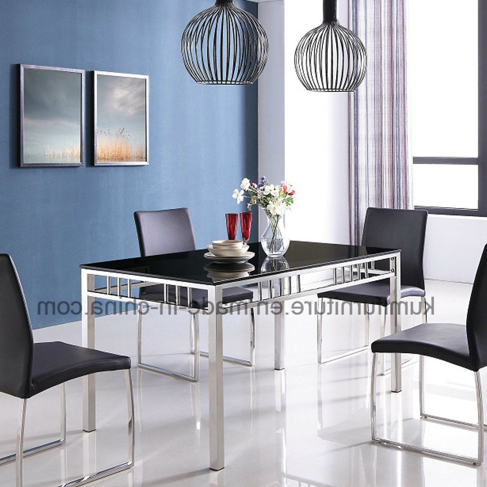 China Hotel Furniture Stainless Steel Dining Table With Glass Top In Well Known Glass And Stainless Steel Dining Tables (View 3 of 25)