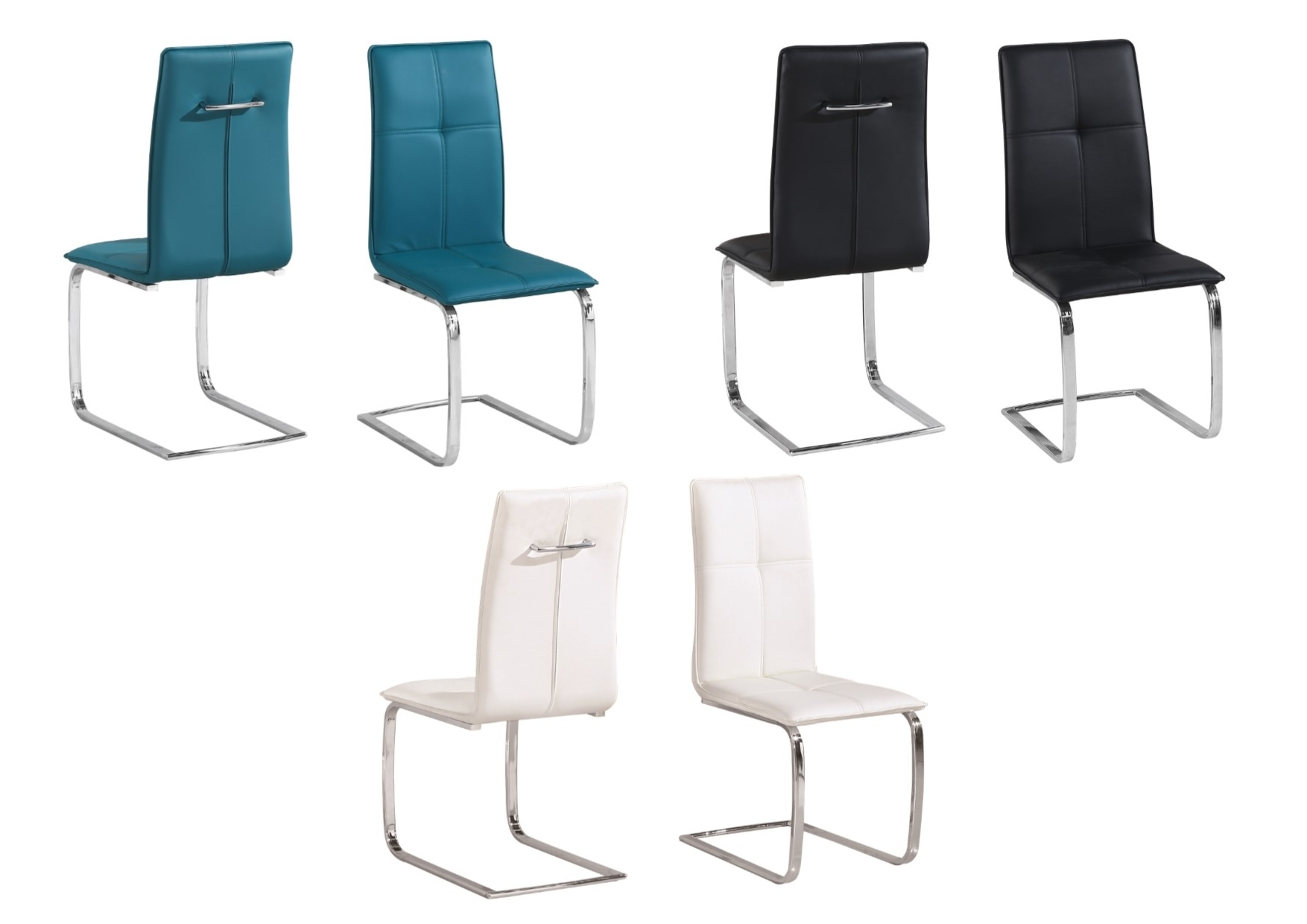Chrome Dining Chairs Intended For 2018 Lpd Opus Faux Leather & Chrome Dining Chairs – Black, Teal, White (View 18 of 25)