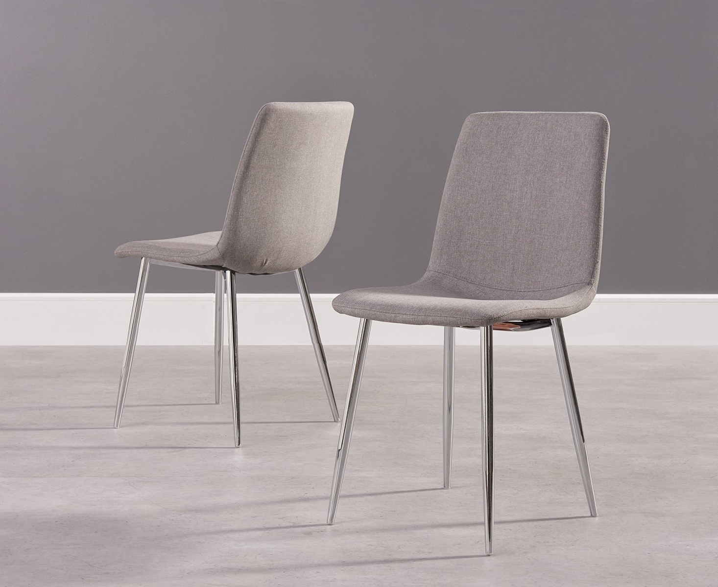 Chrome Dining Chairs Regarding Trendy Ellisa Grey Fabric Dining Chair With Chrome Legs (Pair) (Gallery 15 of 25)