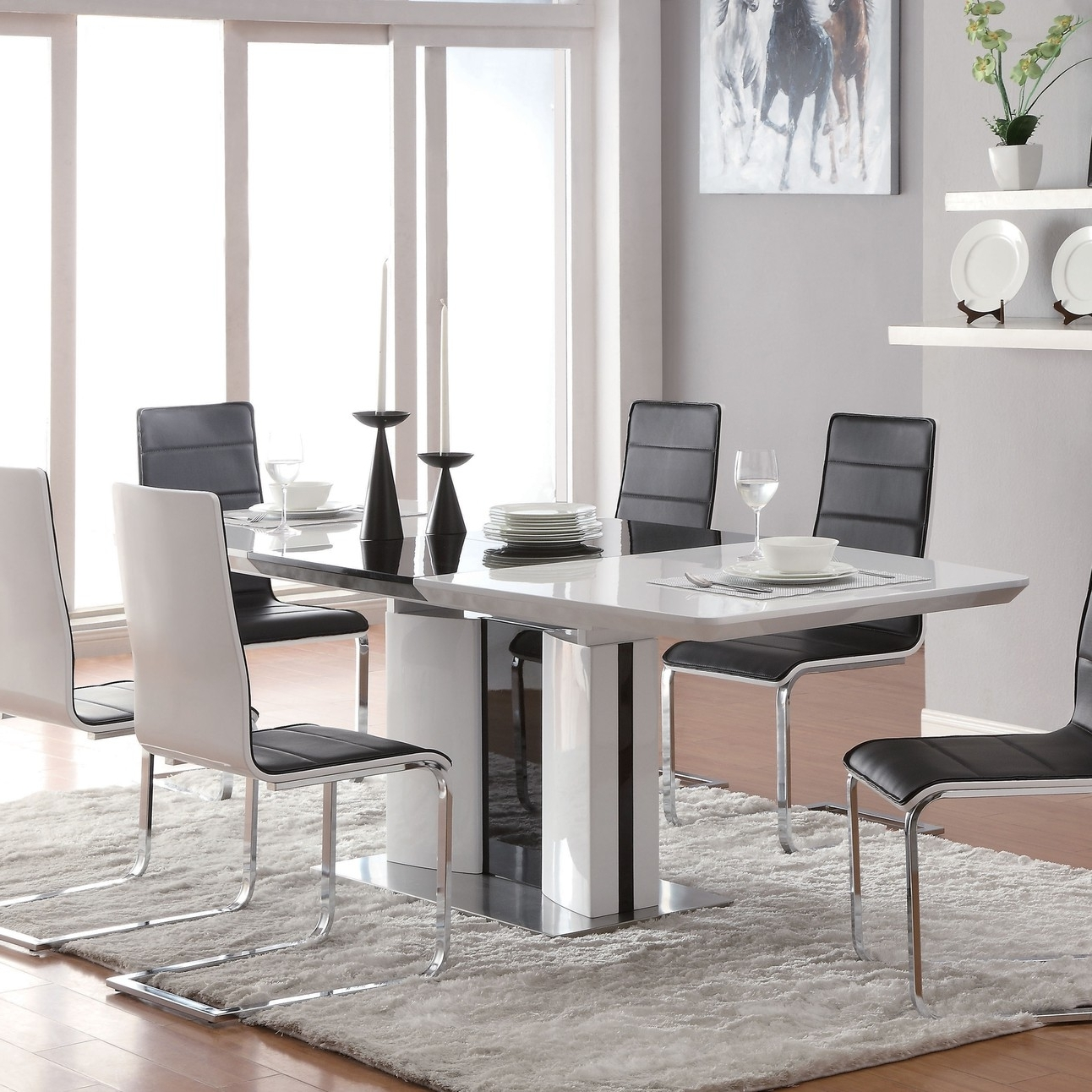 Chrome Dining Room Chairs In 2018 Broderick Contemporary White Chrome Dining Table (Gallery 19 of 25)