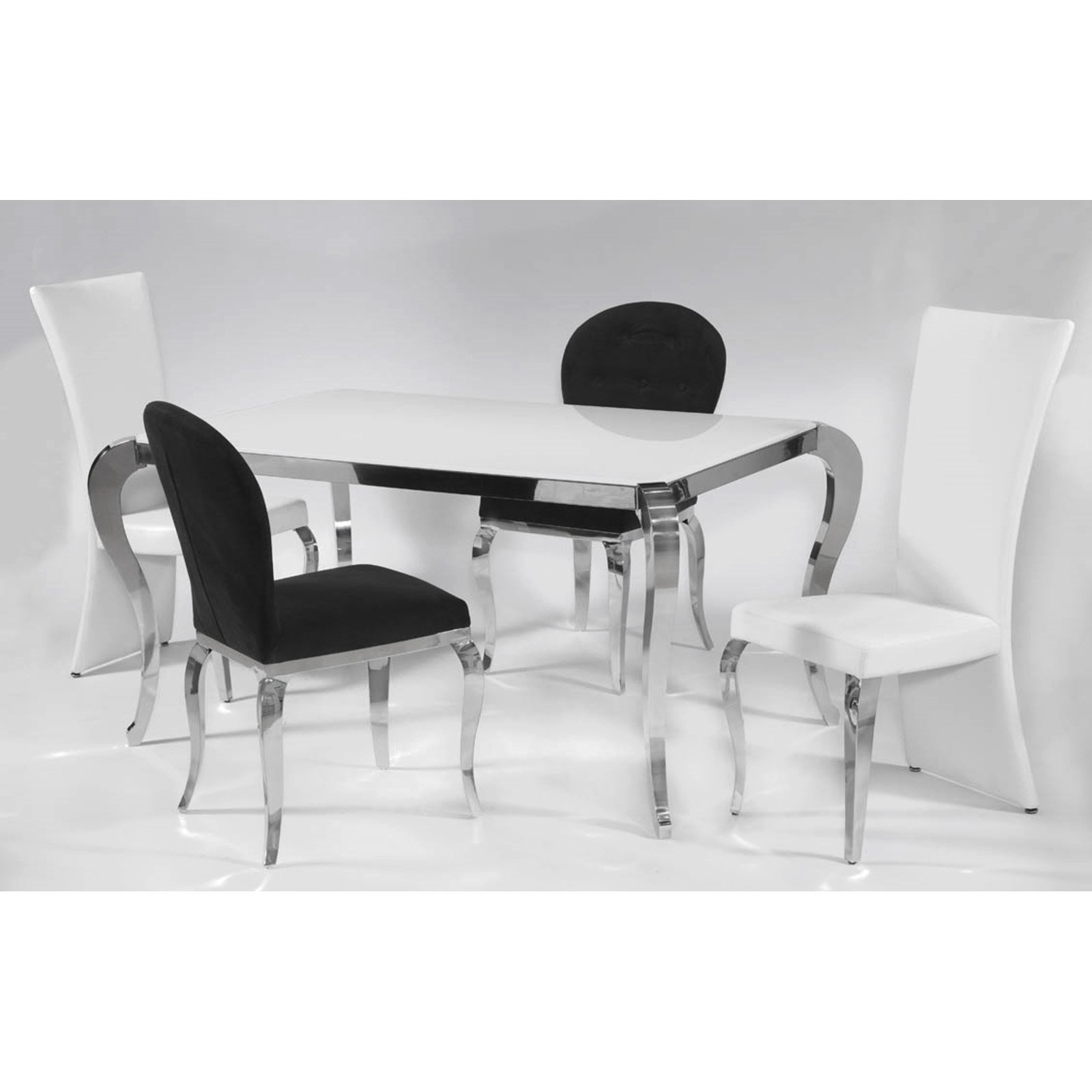 Chrome Dining Room Chairs Regarding Well Known Chintaly Teresa 5 Piece Dining Table Set – Walmart (Gallery 6 of 25)